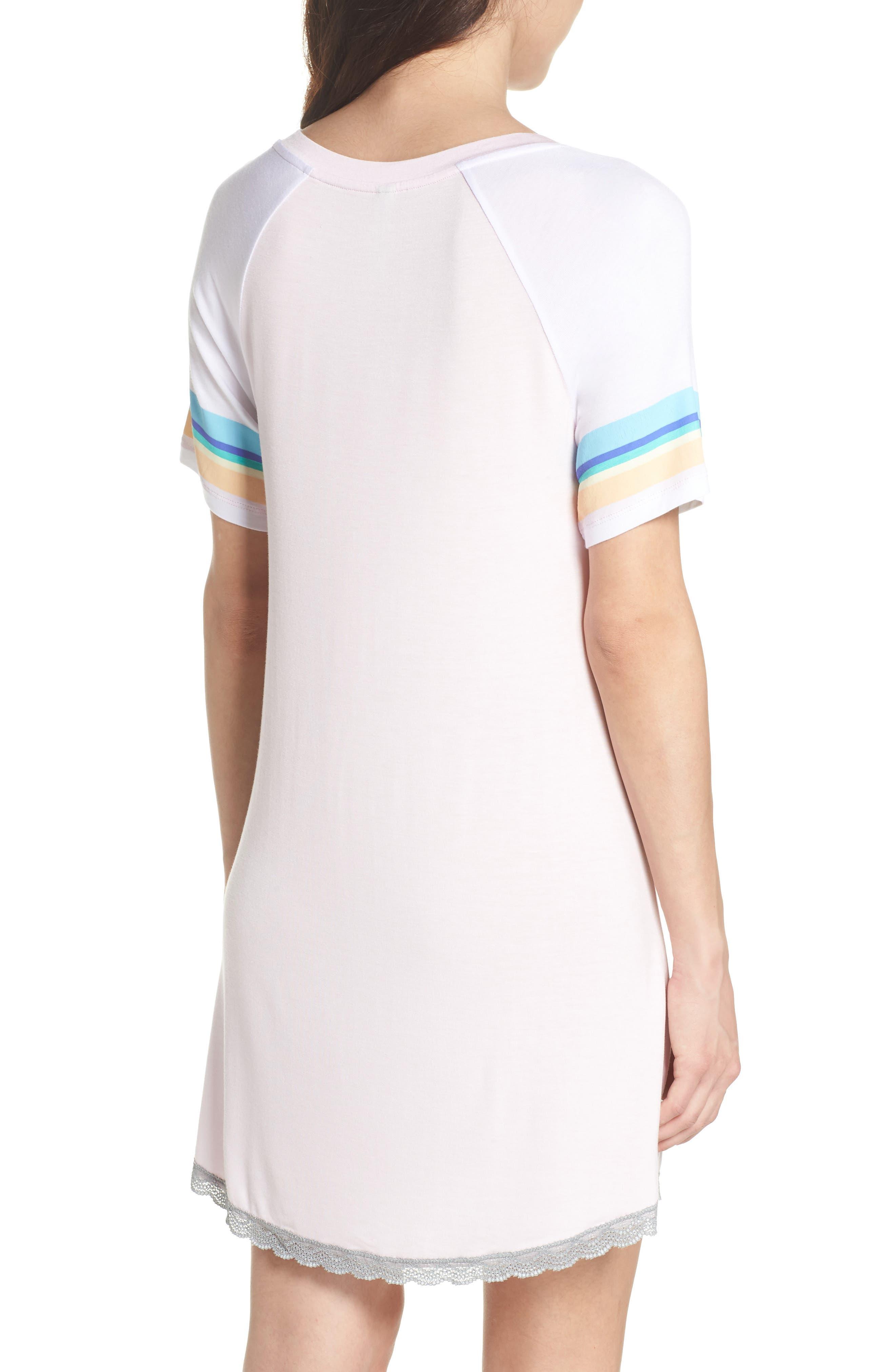 Honeydew Lace Trim Sleep Shirt,                             Alternate thumbnail 2, color,                             Cherry Soda