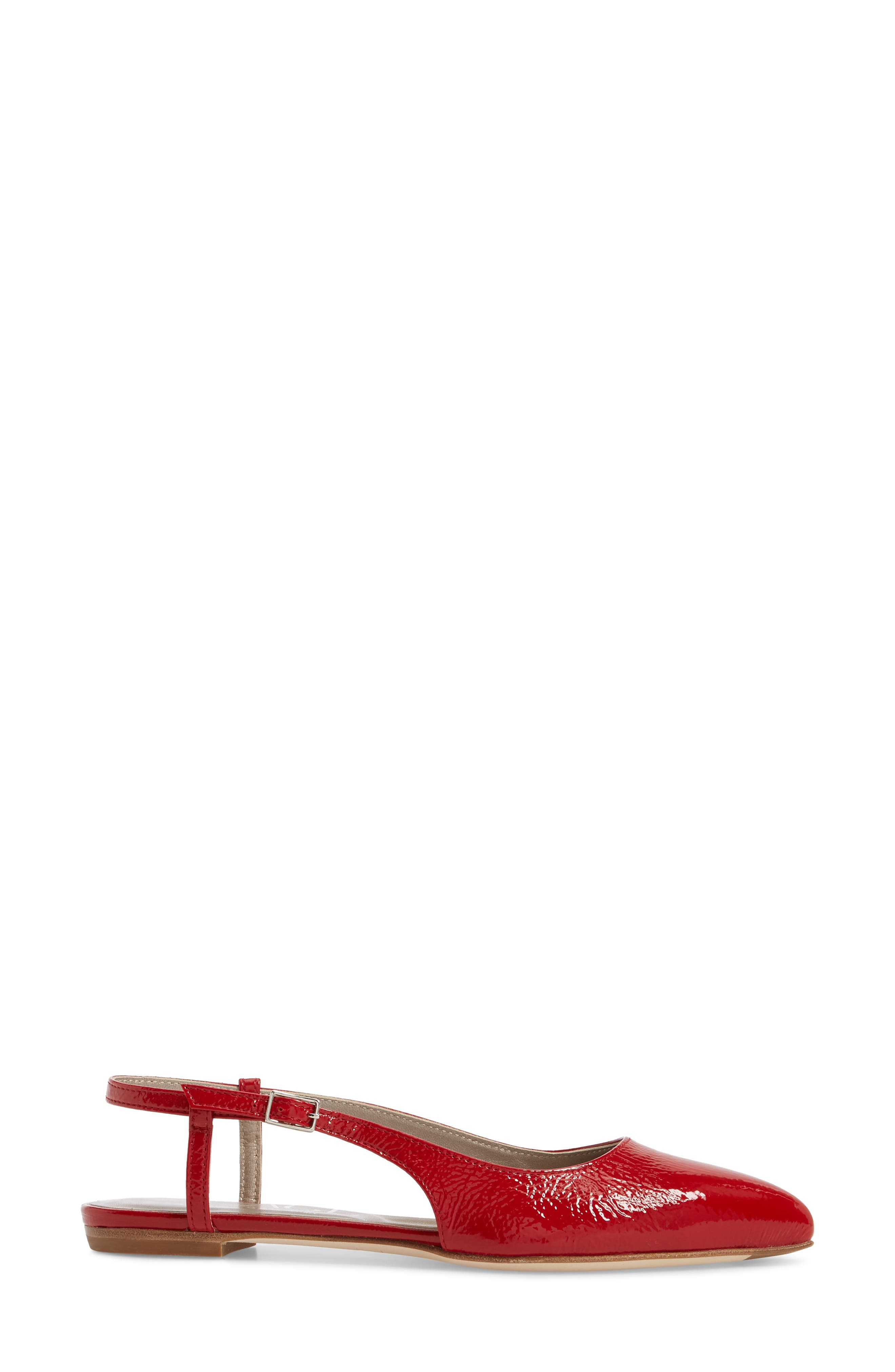 Slingback Flat,                             Alternate thumbnail 3, color,                             Red Glammy Leather