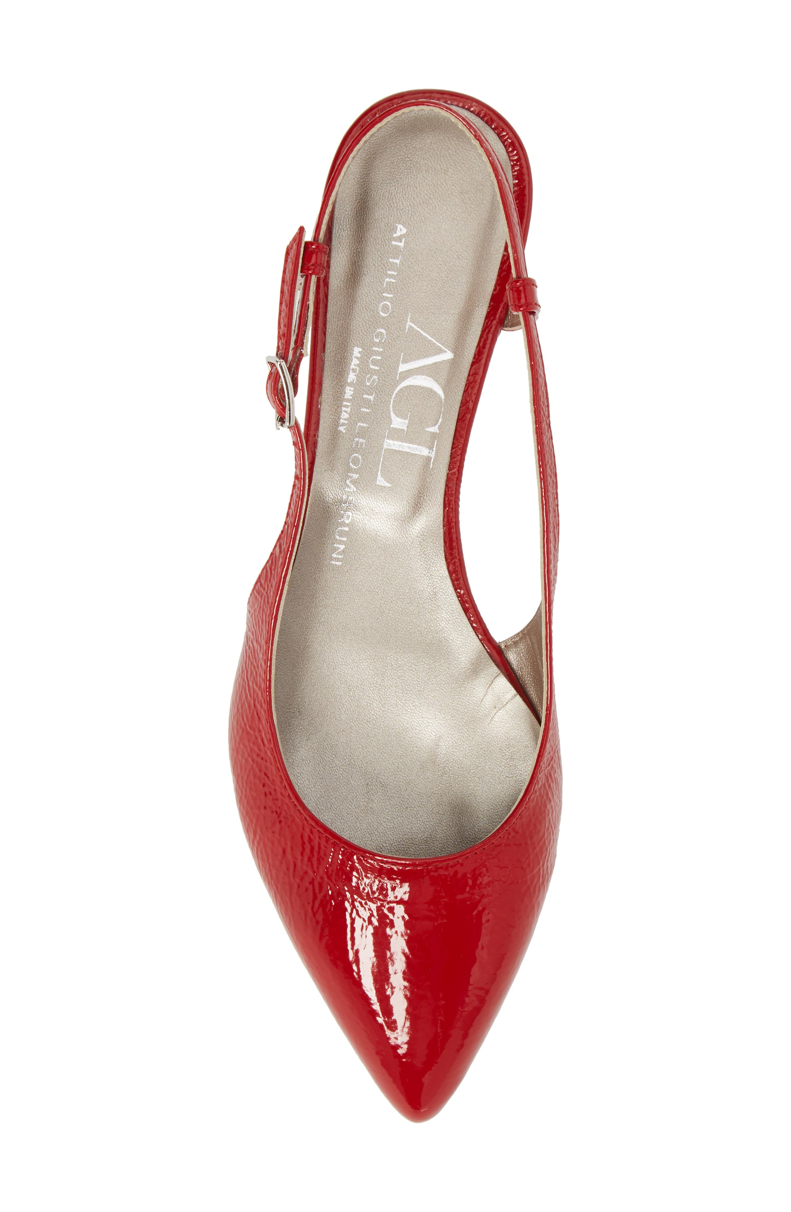 Slingback Flat,                             Alternate thumbnail 5, color,                             Red Glammy Leather