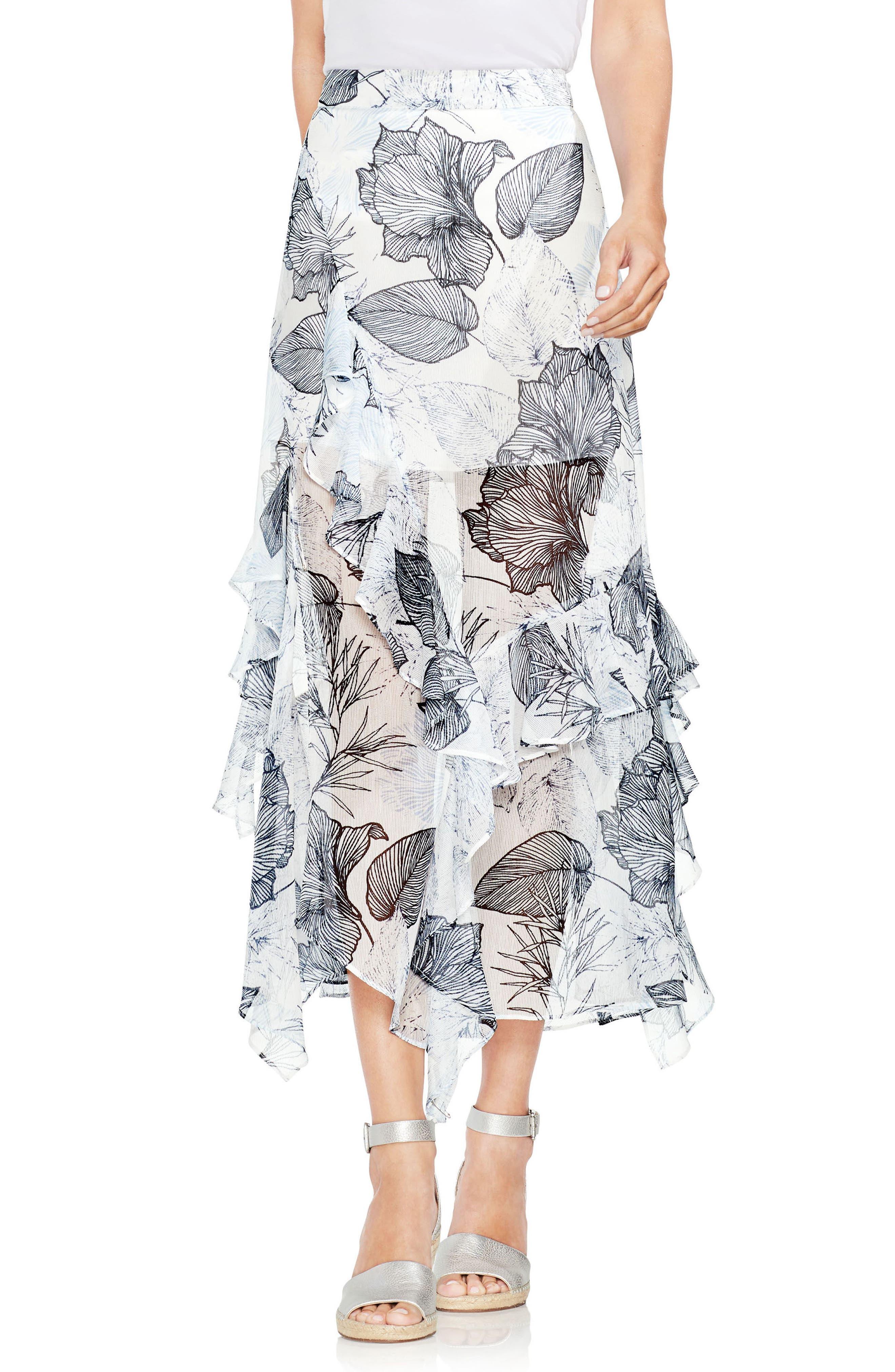 Ruffle Island Floral Midi Skirt,                             Main thumbnail 1, color,                             Ultra White