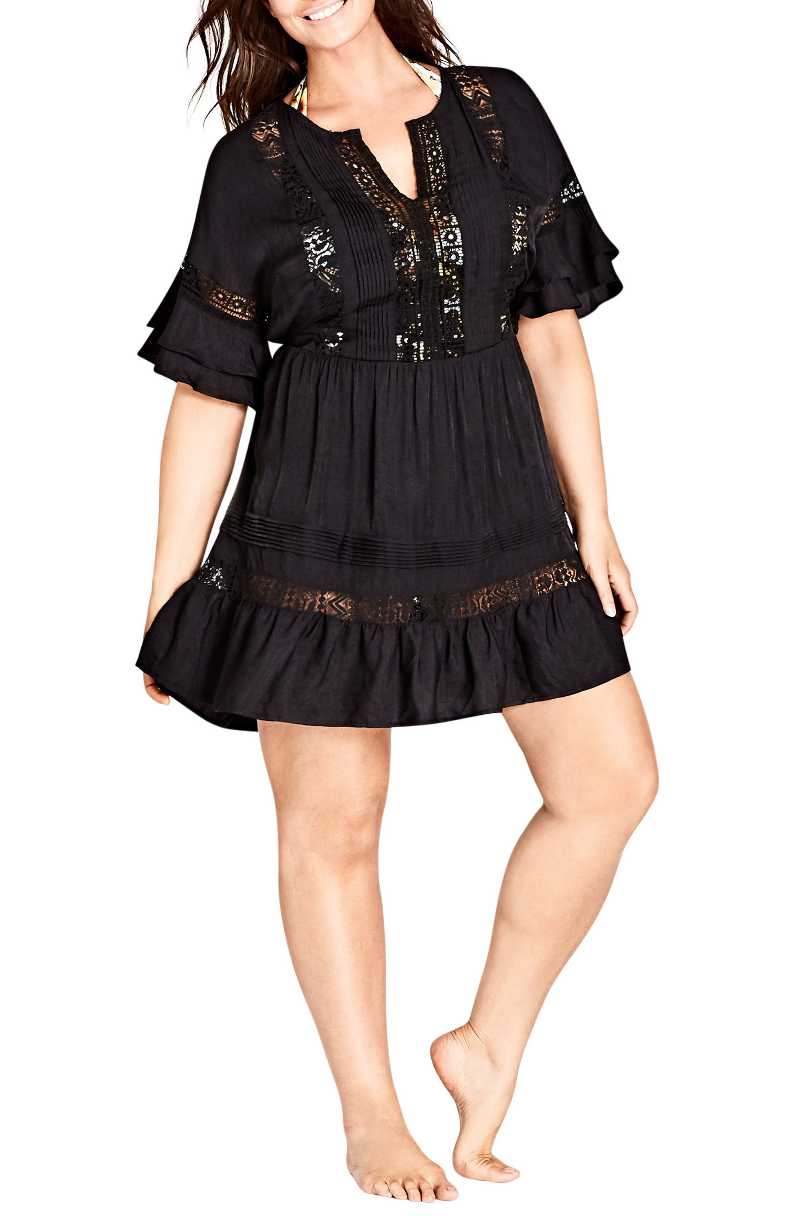 Evie Lace Trim Cover-Up Dress,                             Main thumbnail 1, color,                             Black