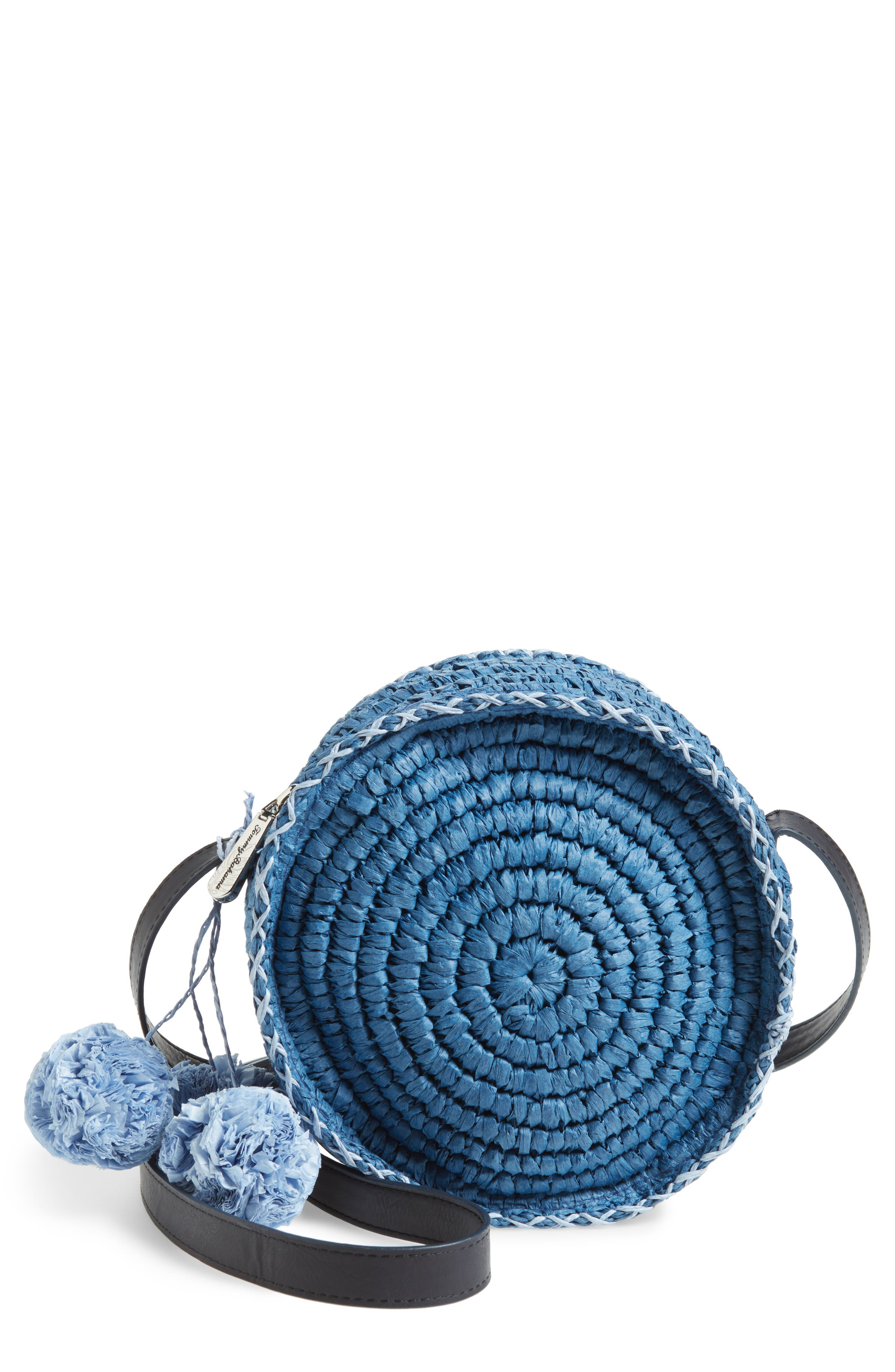 Pirro Woven Straw Crossbody Bag,                         Main,                         color, Navy
