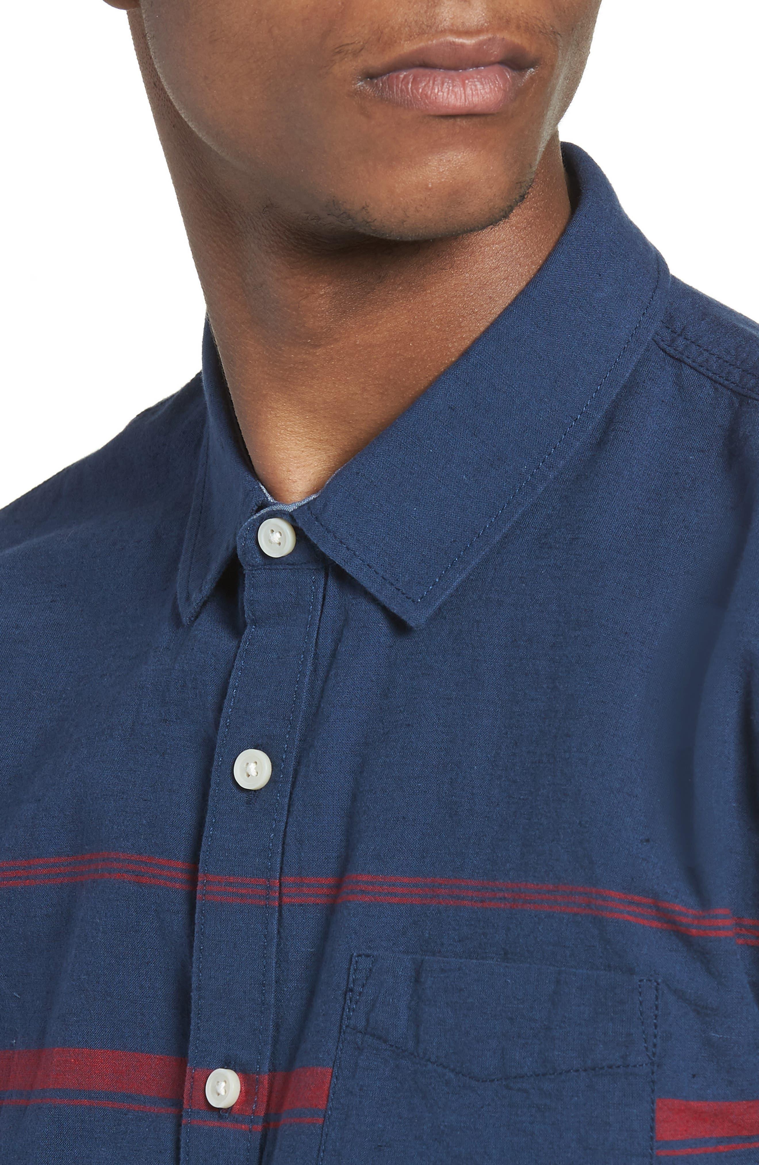 Thurber Short Sleeve Shirt,                             Alternate thumbnail 4, color,                             Dress Blues