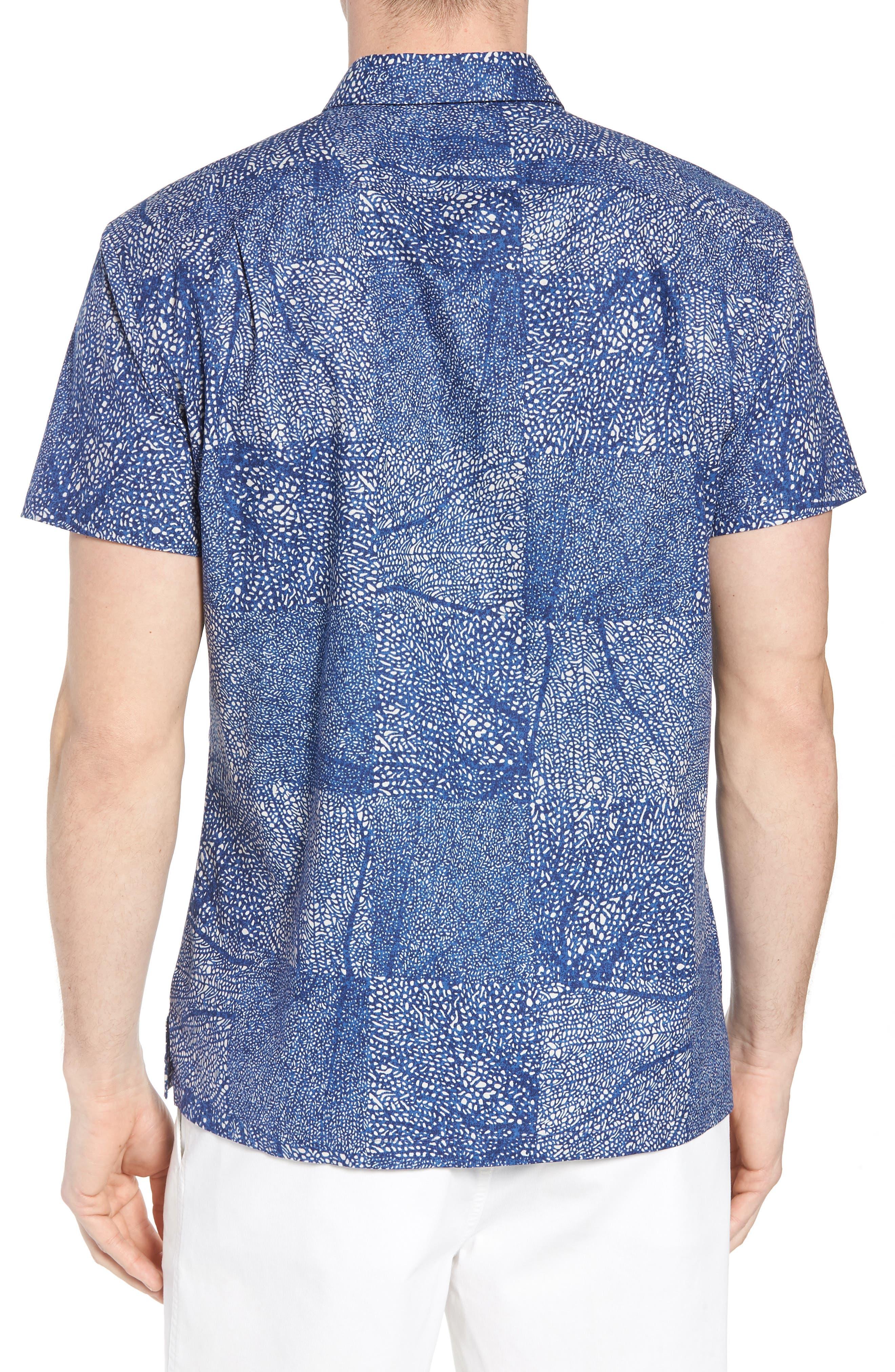 Black Coral Trim Fit Camp Shirt,                             Alternate thumbnail 3, color,                             Navy