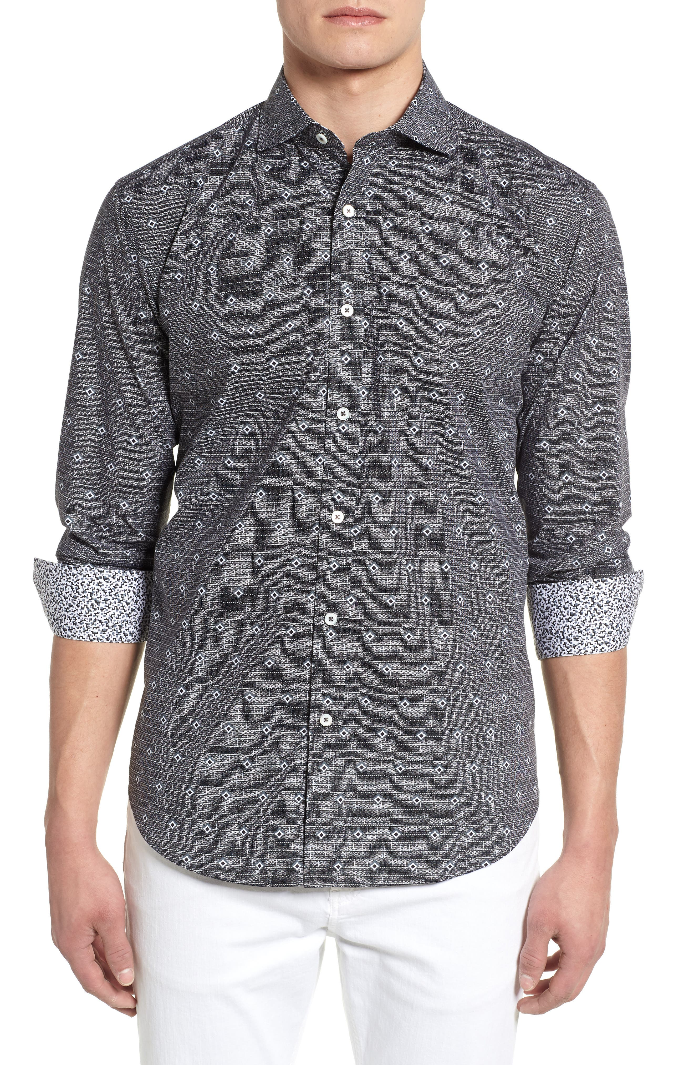 Woven Sport Shirt,                         Main,                         color, Charcoal