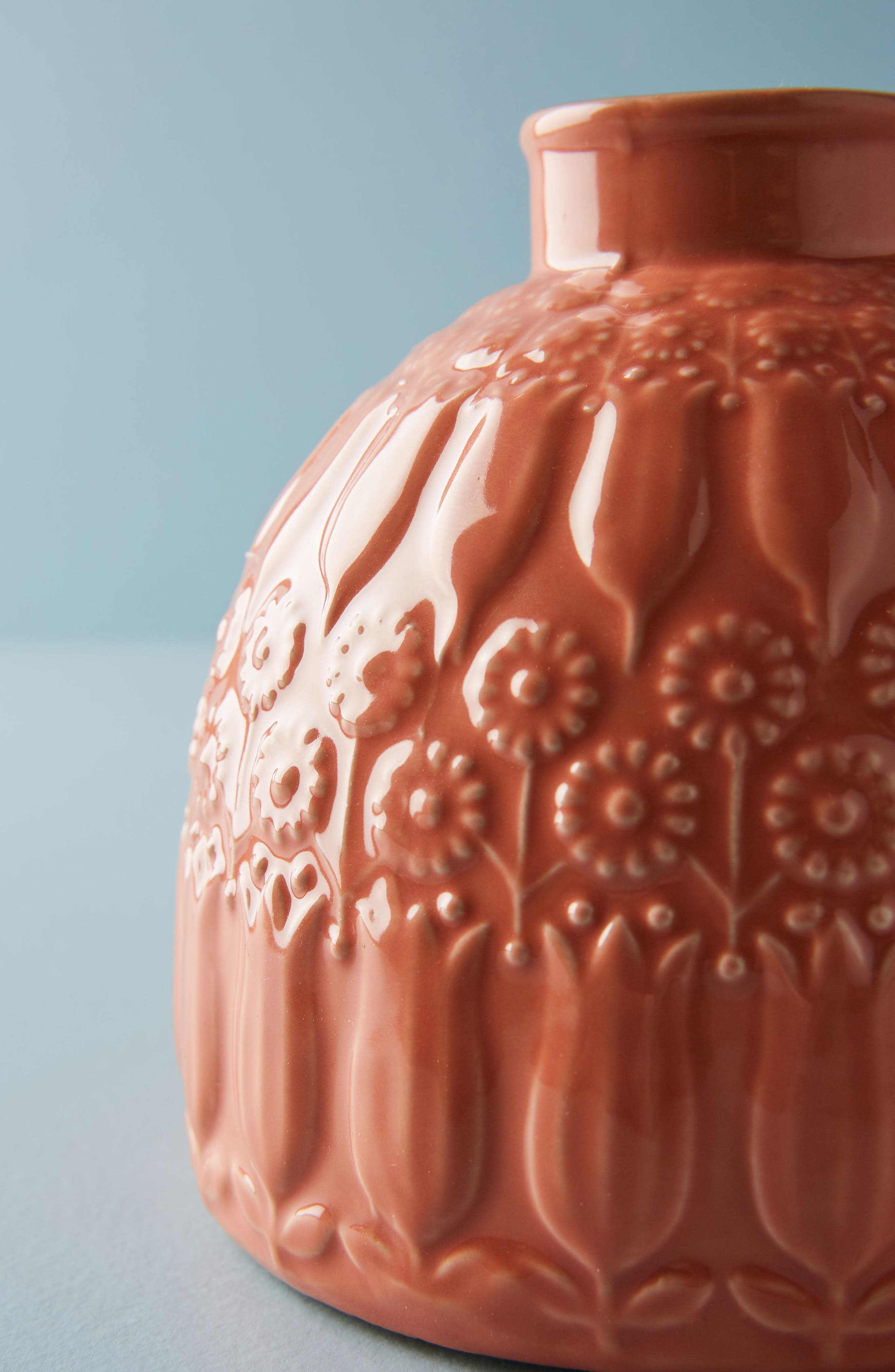 Embossed Floral Vase,                             Alternate thumbnail 2, color,                             Peach