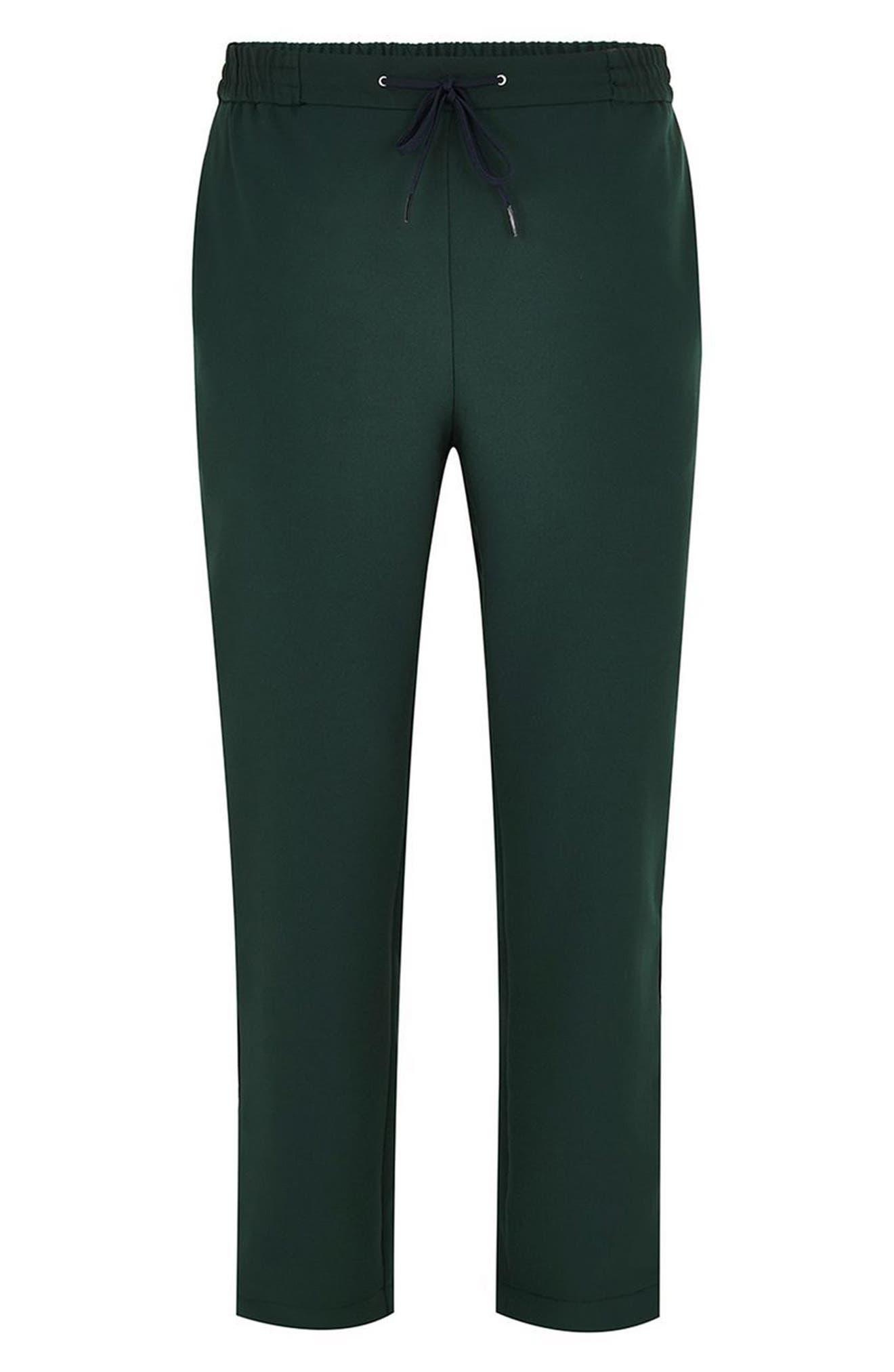 Slim Cropped Track Pants,                             Alternate thumbnail 4, color,                             Green Multi