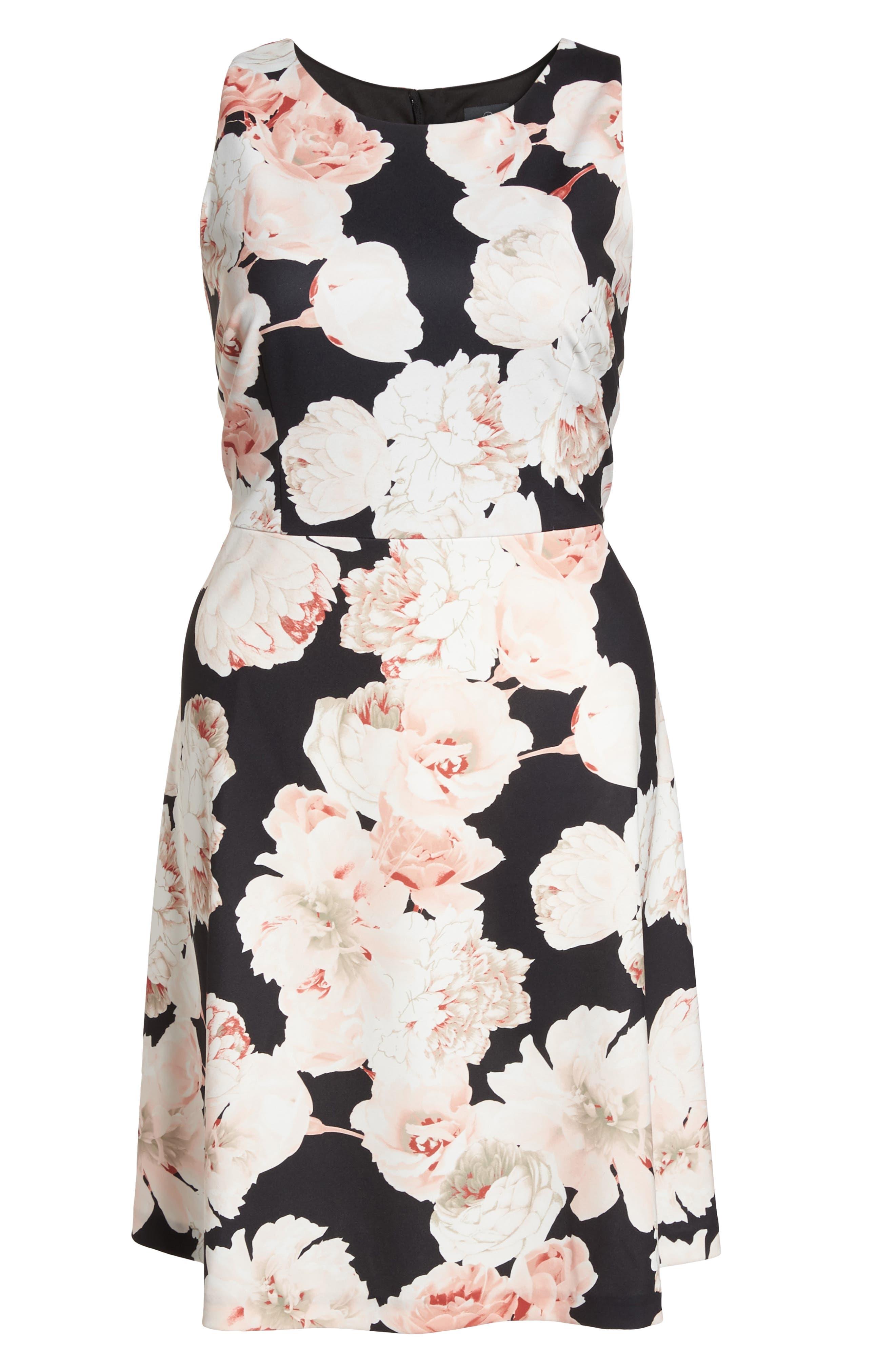 Floral A-Line Dress,                             Alternate thumbnail 6, color,                             Pink/ Black Multi