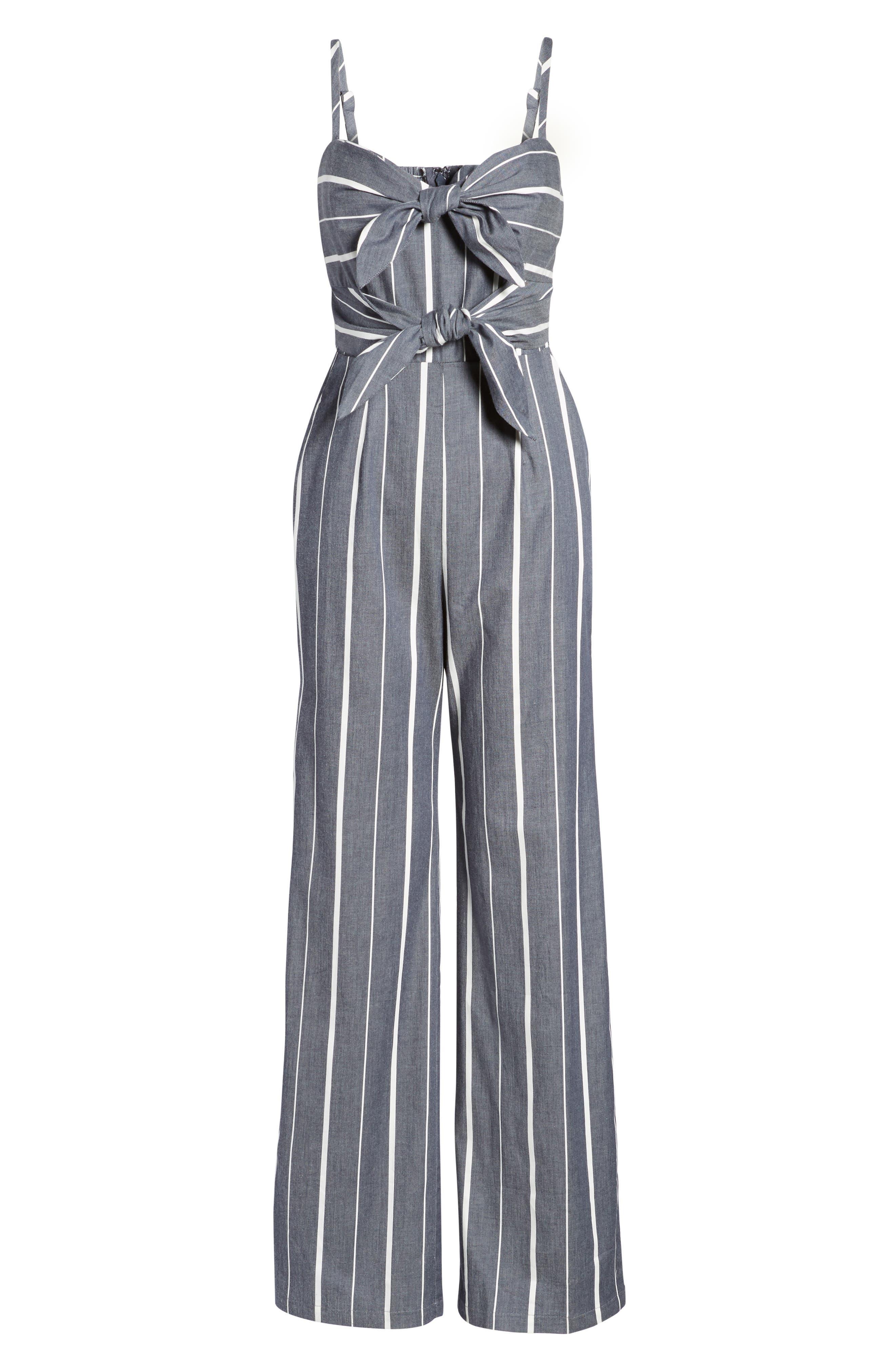 Double Tie Front Jumpsuit,                             Alternate thumbnail 6, color,                             Denim/ White