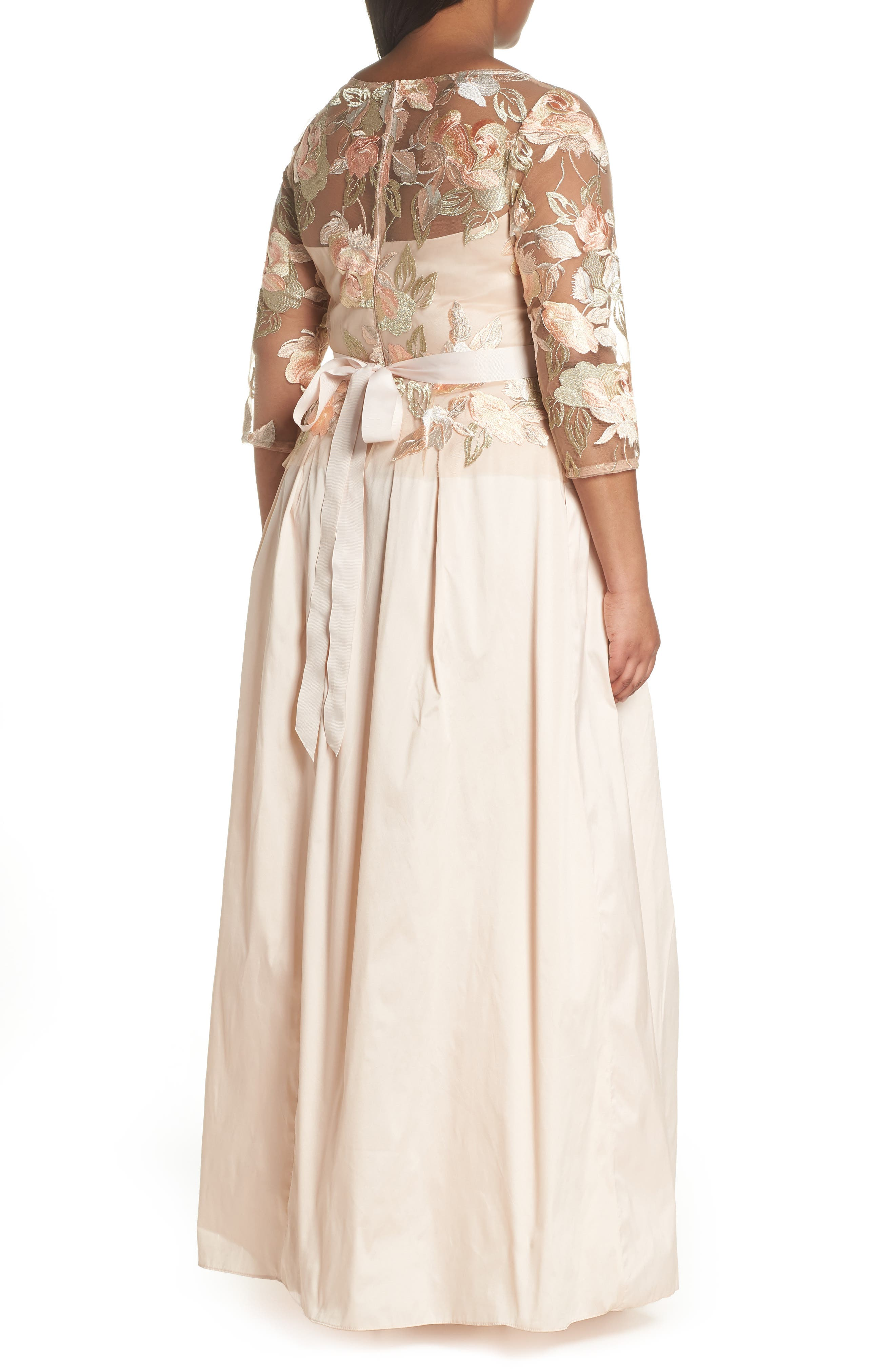 Floral Embroidered Gown,                             Alternate thumbnail 2, color,                             Pale Peach Multi