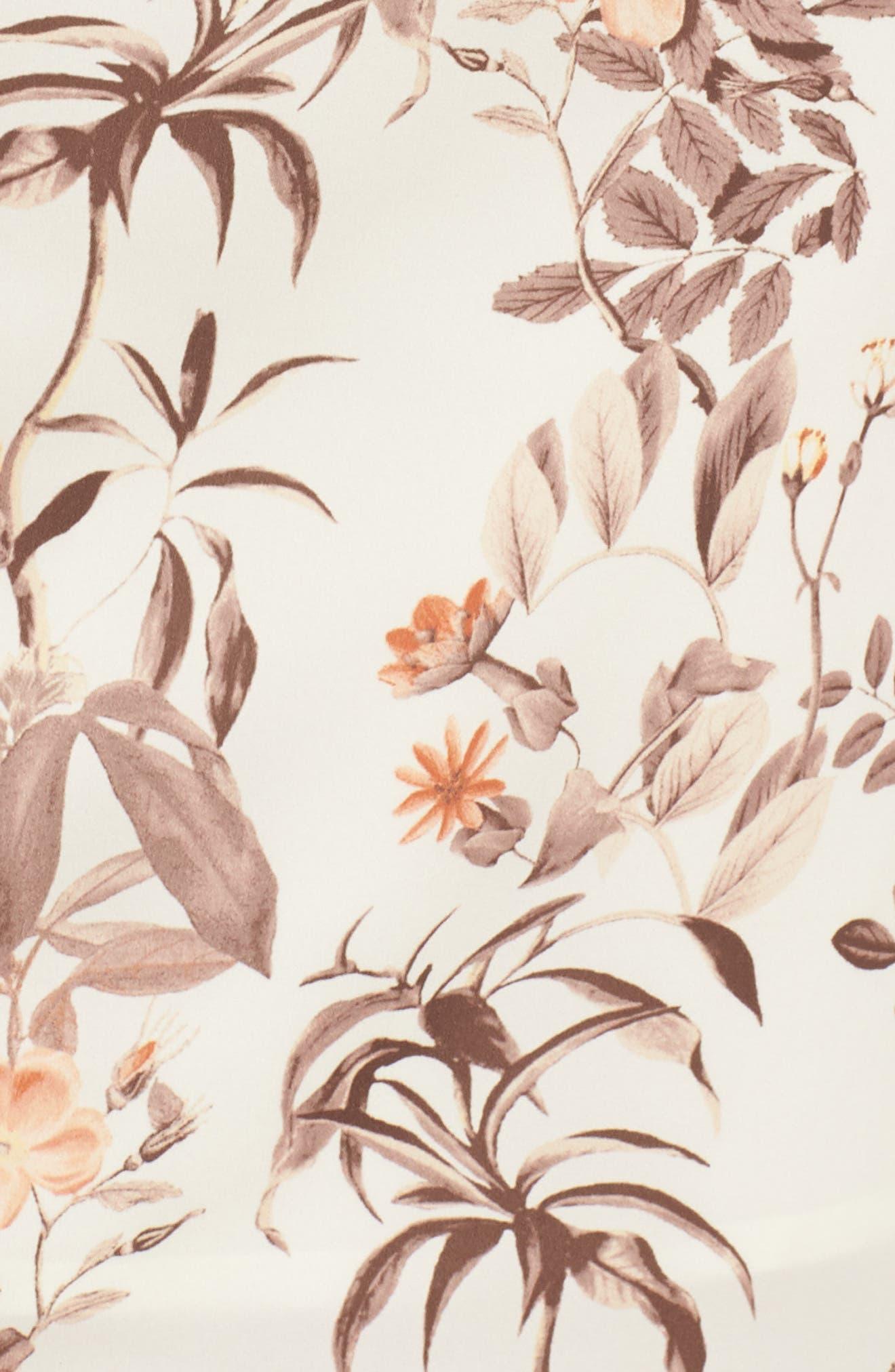 Lauren Botanical Garden Print Midi Dress,                             Alternate thumbnail 7, color,                             Beige/ Orange