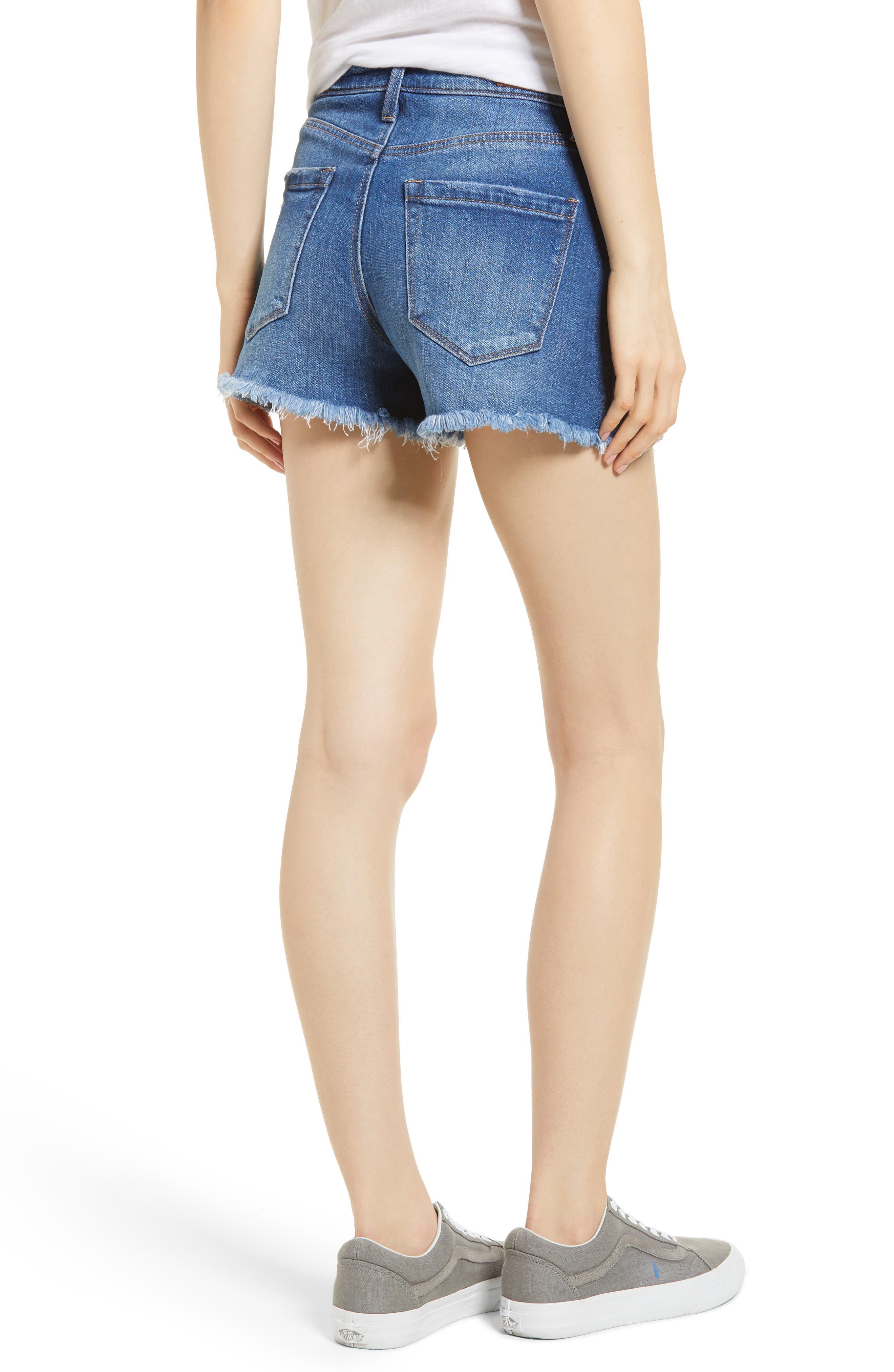 The Lenox High Waist Cutoff Denim Shorts,                             Alternate thumbnail 2, color,                             Low Key