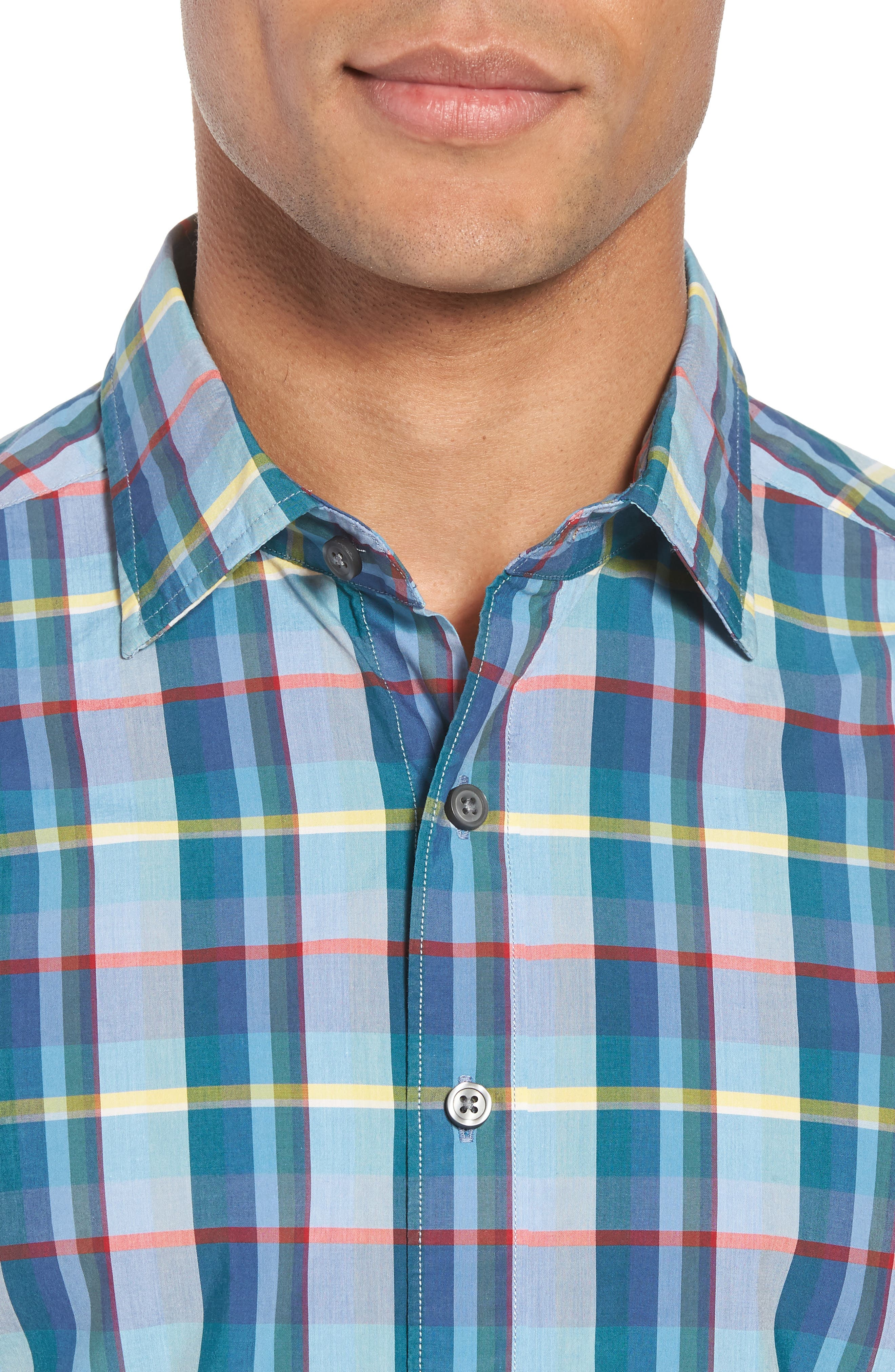 Stockyard Bay Sports Fit Plaid Sport Shirt,                             Alternate thumbnail 2, color,                             Forest