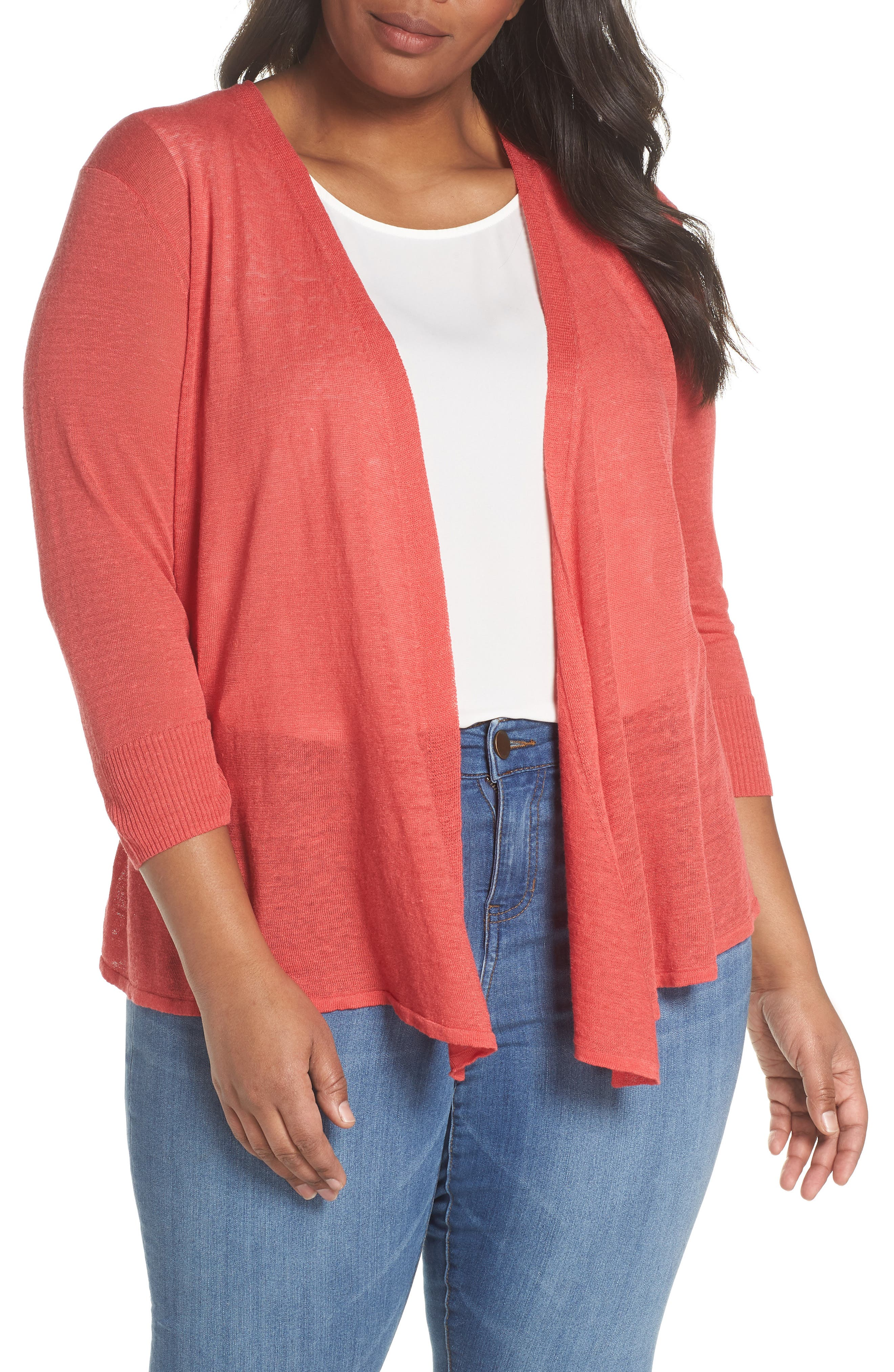 4-Way Convertible Three Quarter Sleeve Cardigan,                         Main,                         color, Spiced Rose