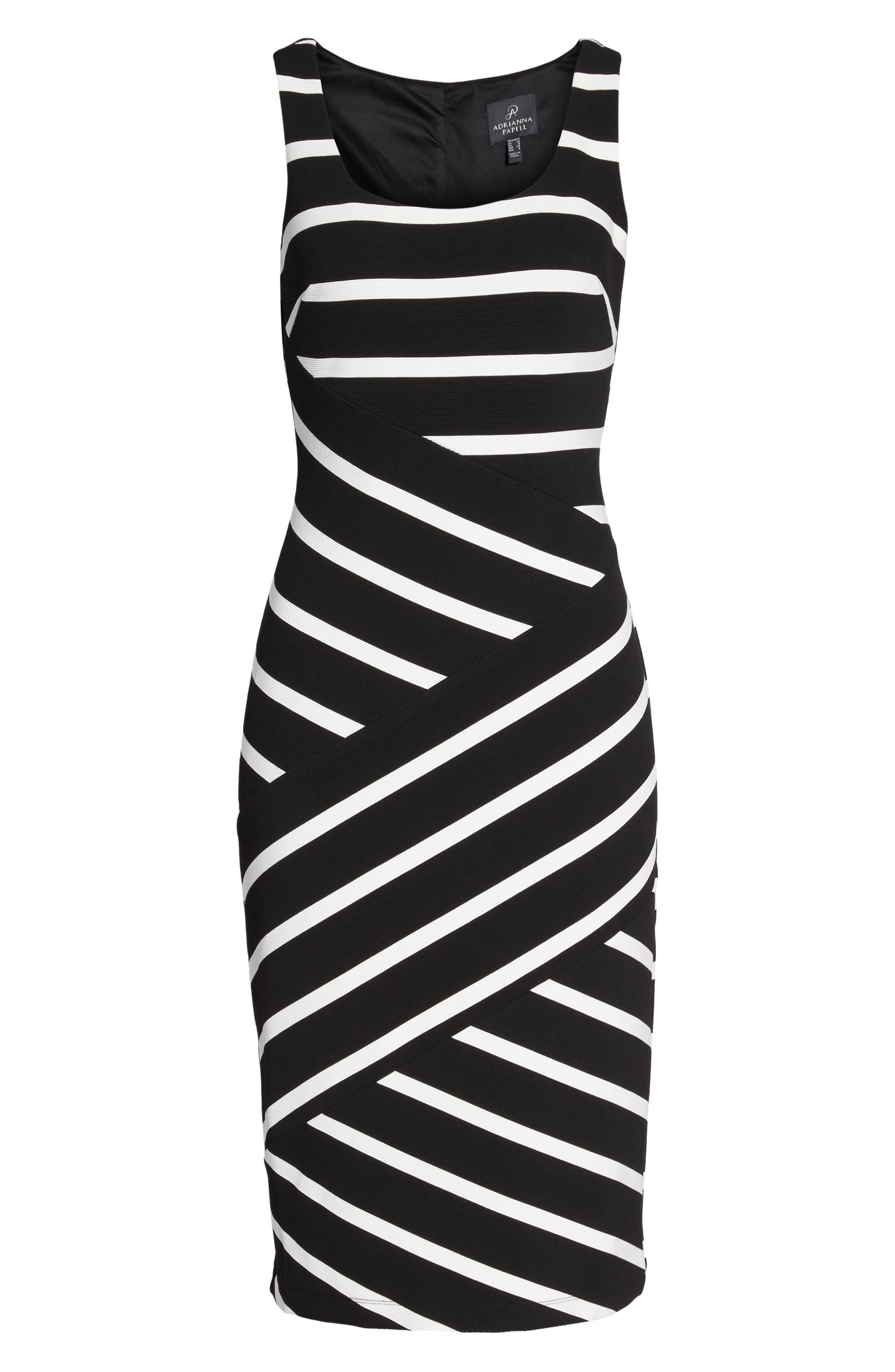 Stripe Ottoman Sheath Dress,                             Alternate thumbnail 7, color,                             Black/ Ivory