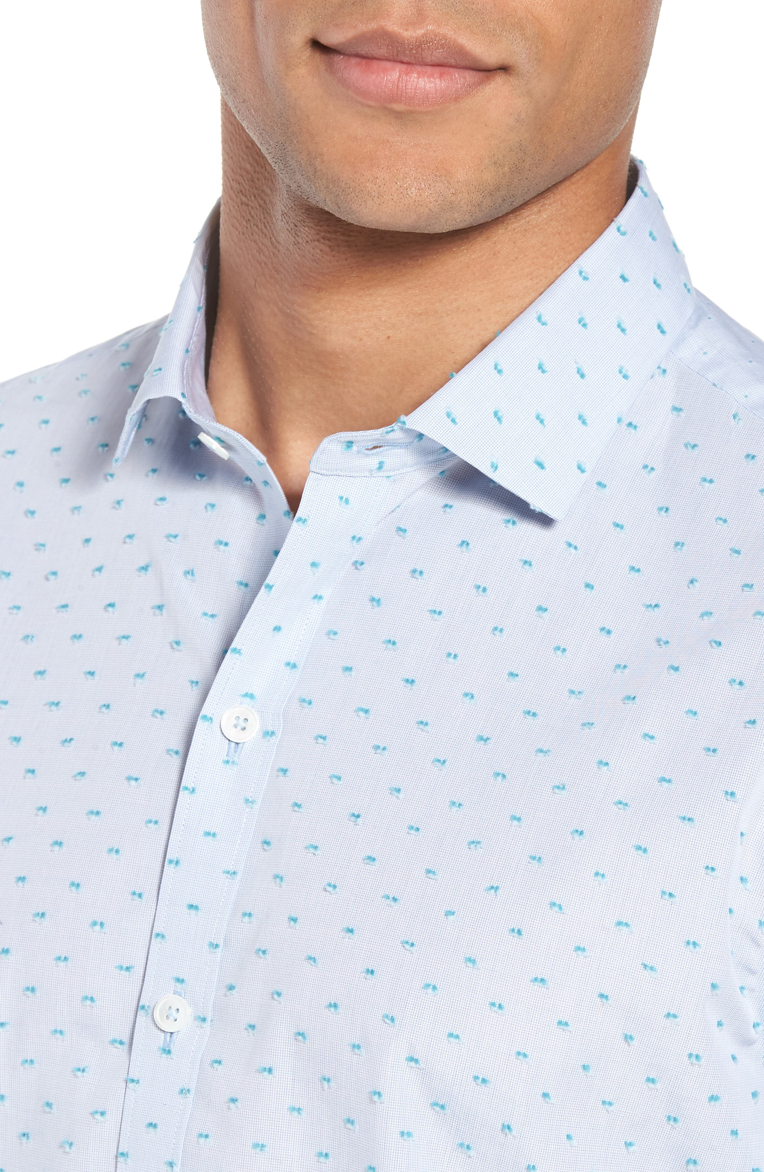 Dolle Fil a Coupe Sport Shirt,                             Alternate thumbnail 4, color,                             Light Blue