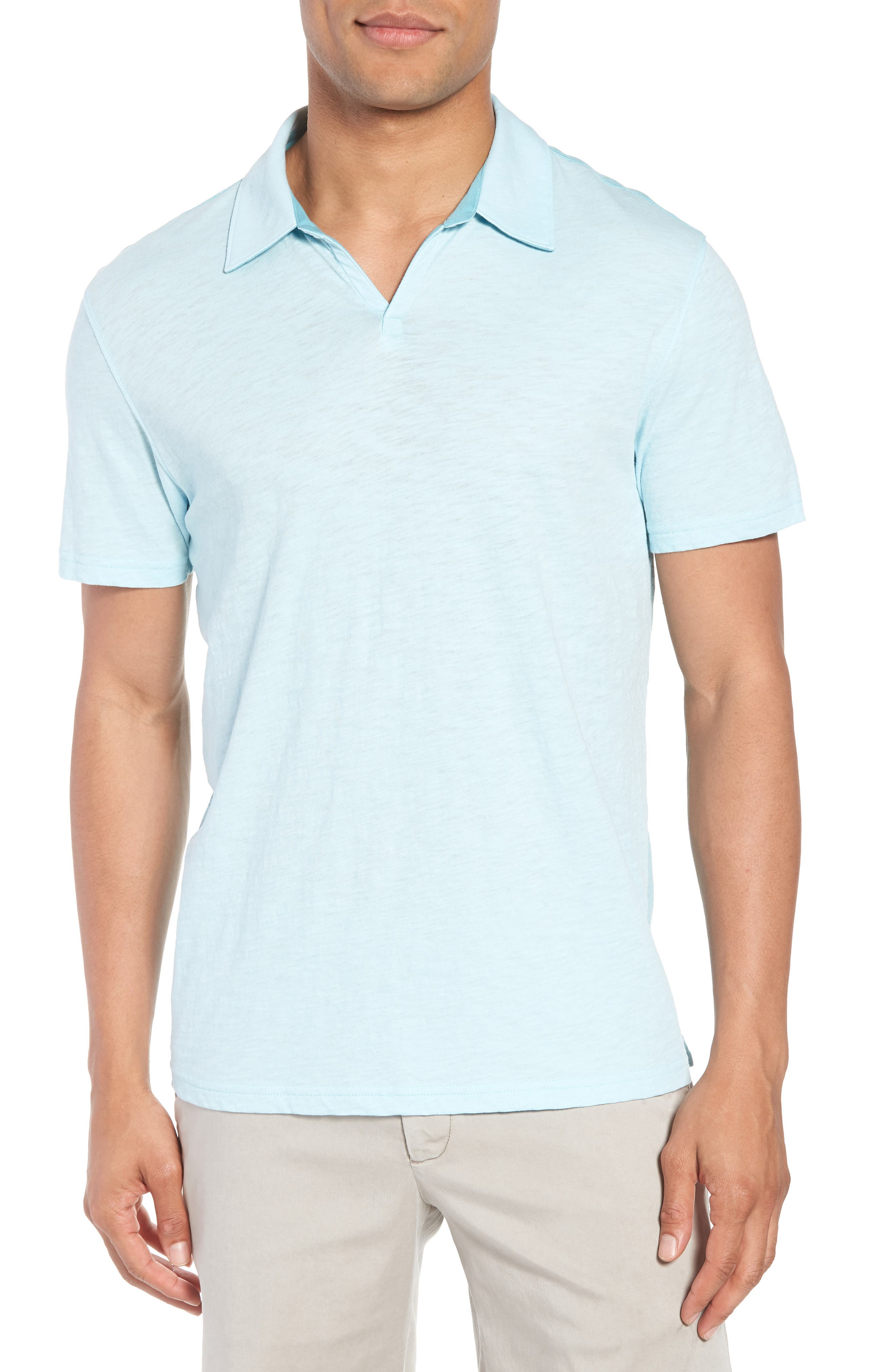Clover Johnny Collar Polo,                         Main,                         color, Light Turquoise