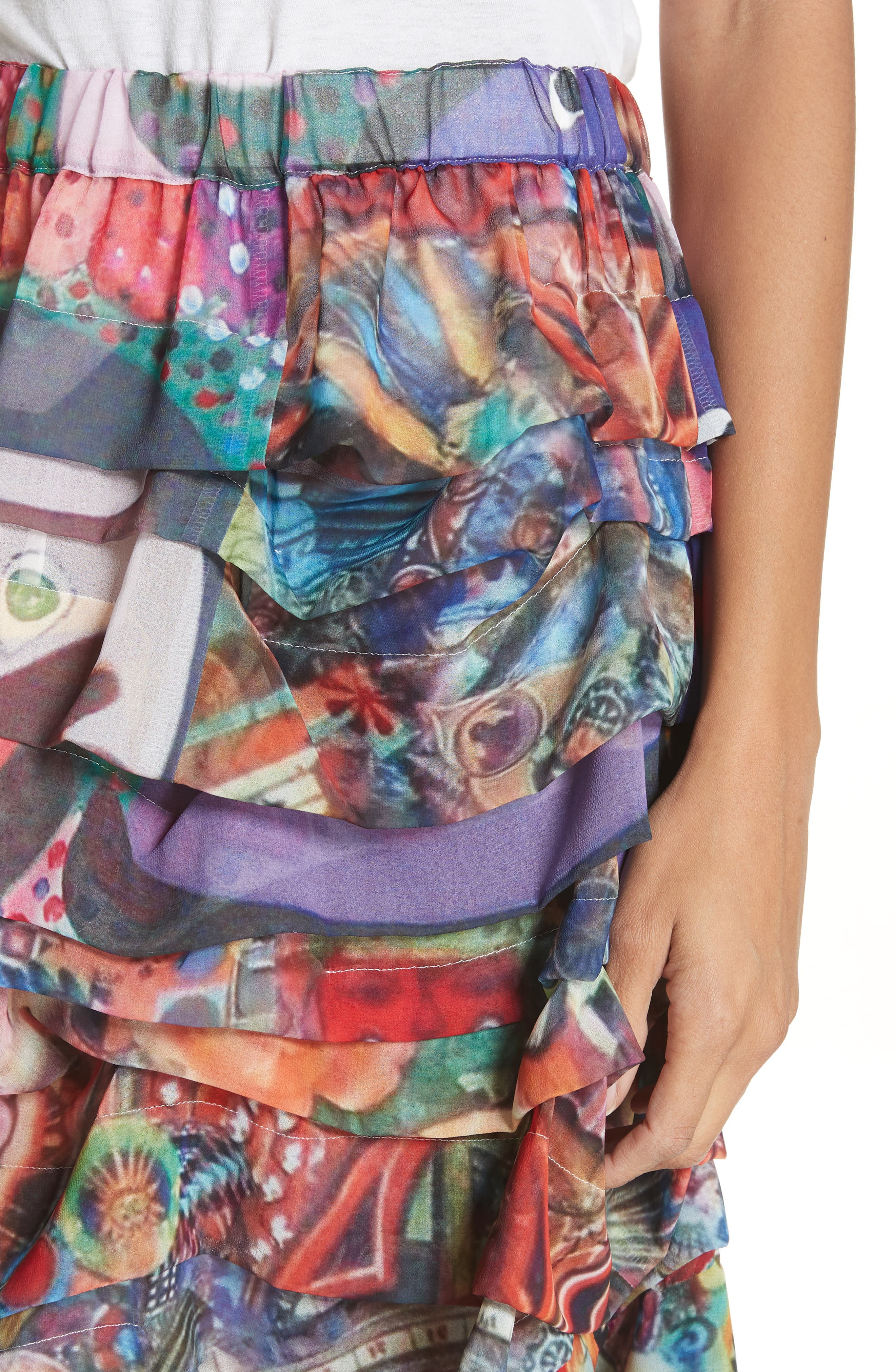 Print Tiered Skirt,                             Alternate thumbnail 5, color,                             R2 Pattern