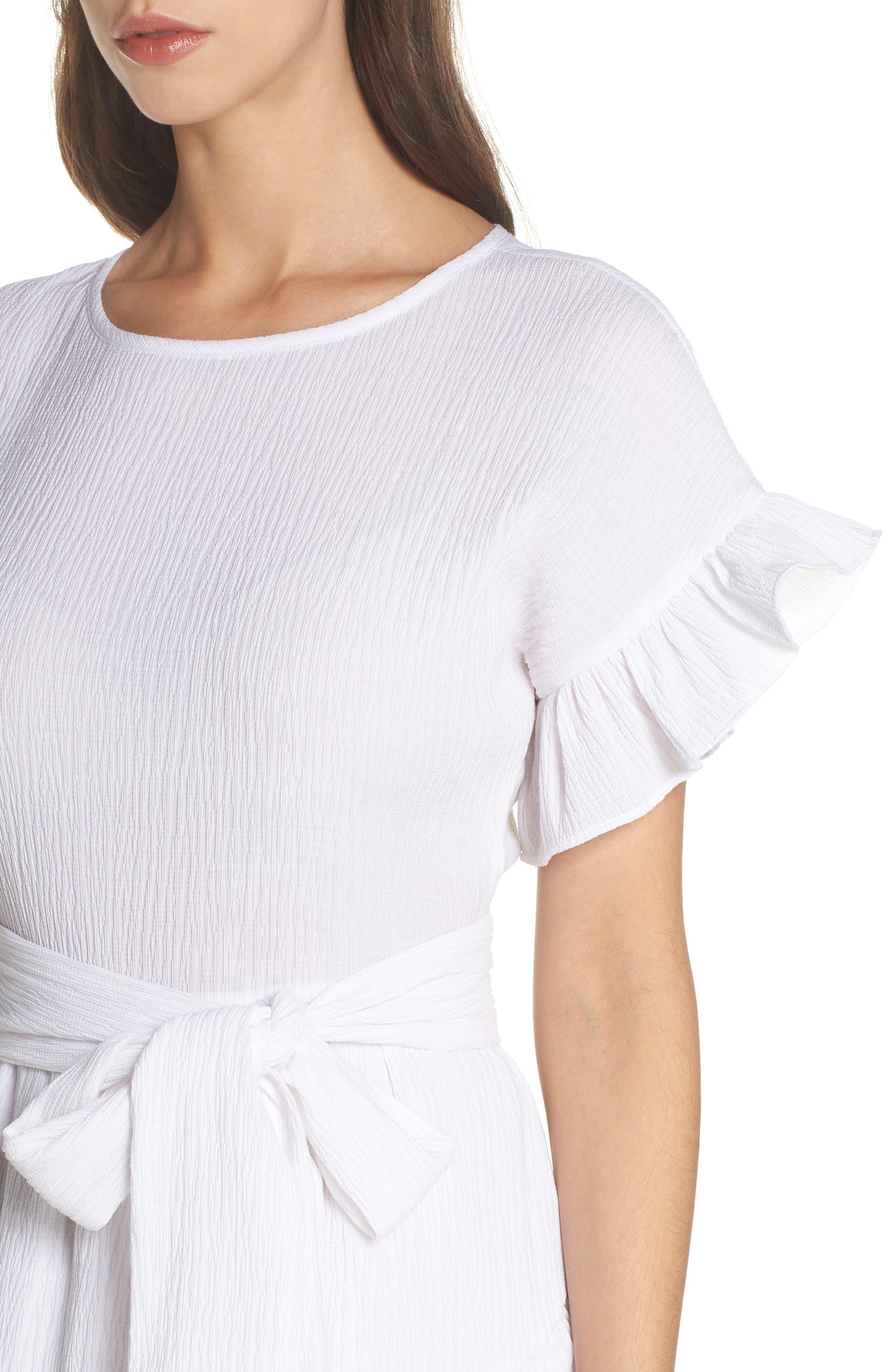 Ruffle Dress,                             Alternate thumbnail 4, color,                             White