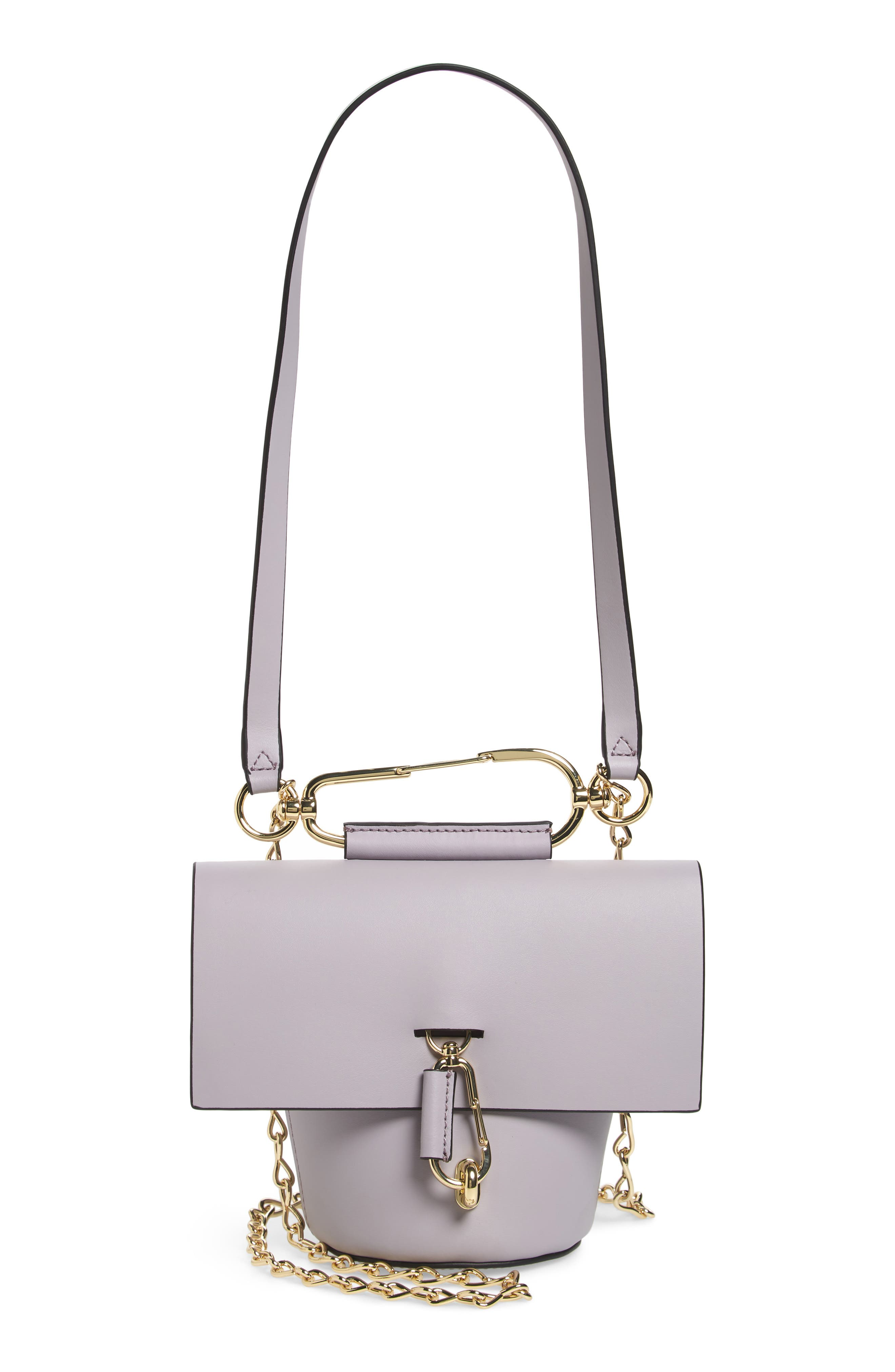 Belay Chain Calfskin Leather Crossbody Bag,                         Main,                         color, Violet