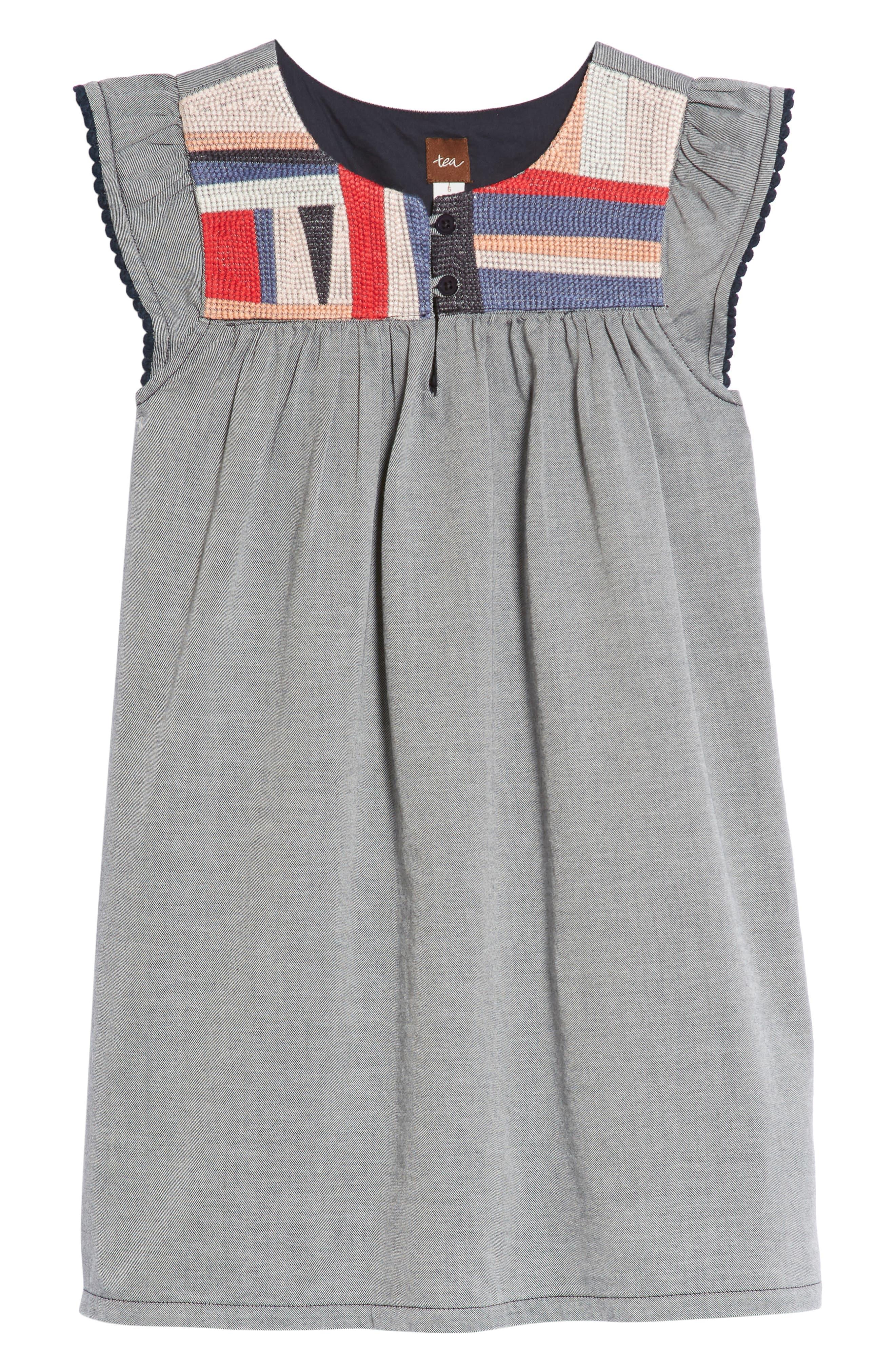 Main Image - Tea Collection Embroidered Yoke Shift Dress (Toddler Girls, Little Girls & Big Girls)