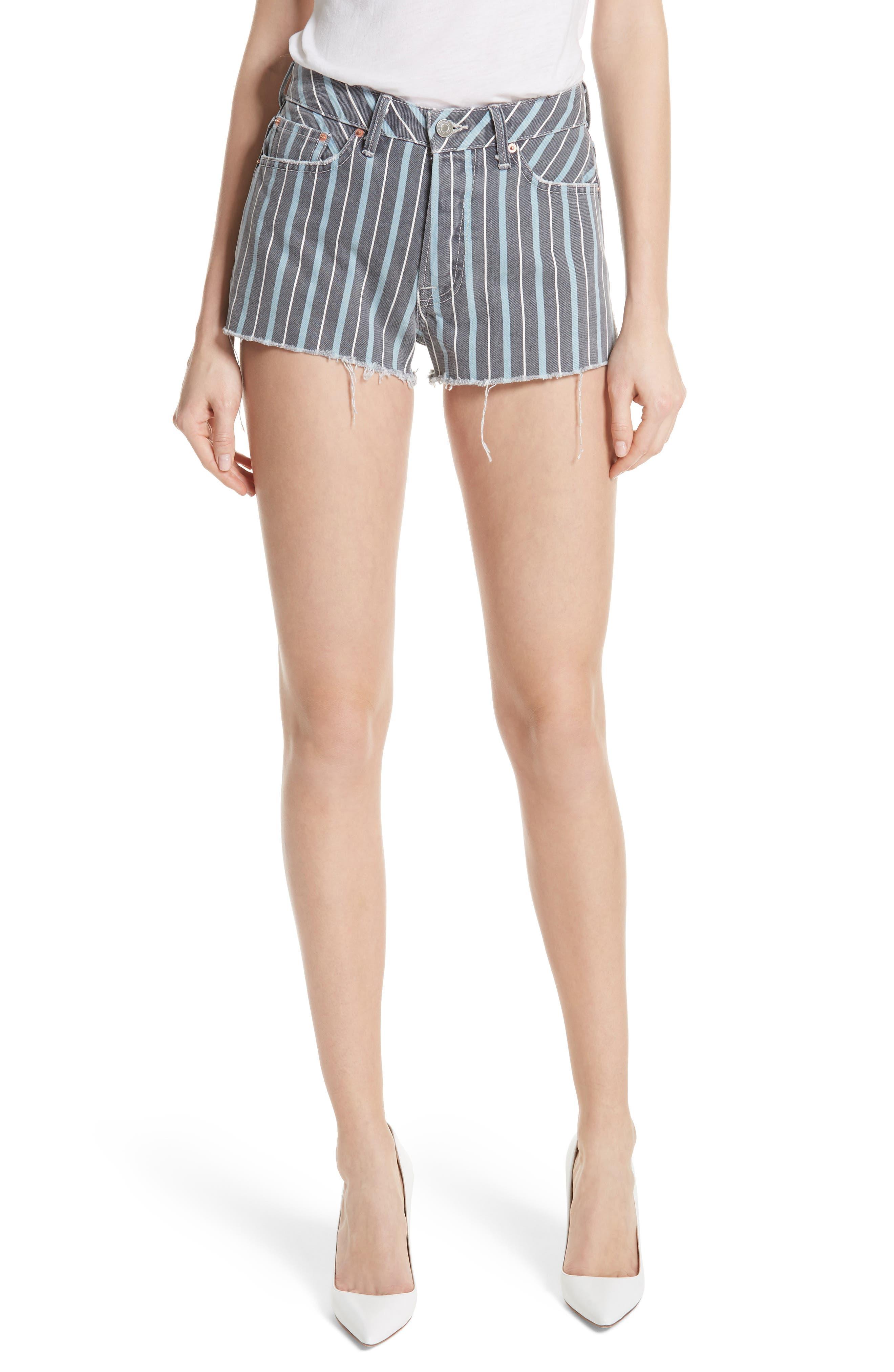 GRLFRND Cindy Stripe Denim Shorts (Taffy)