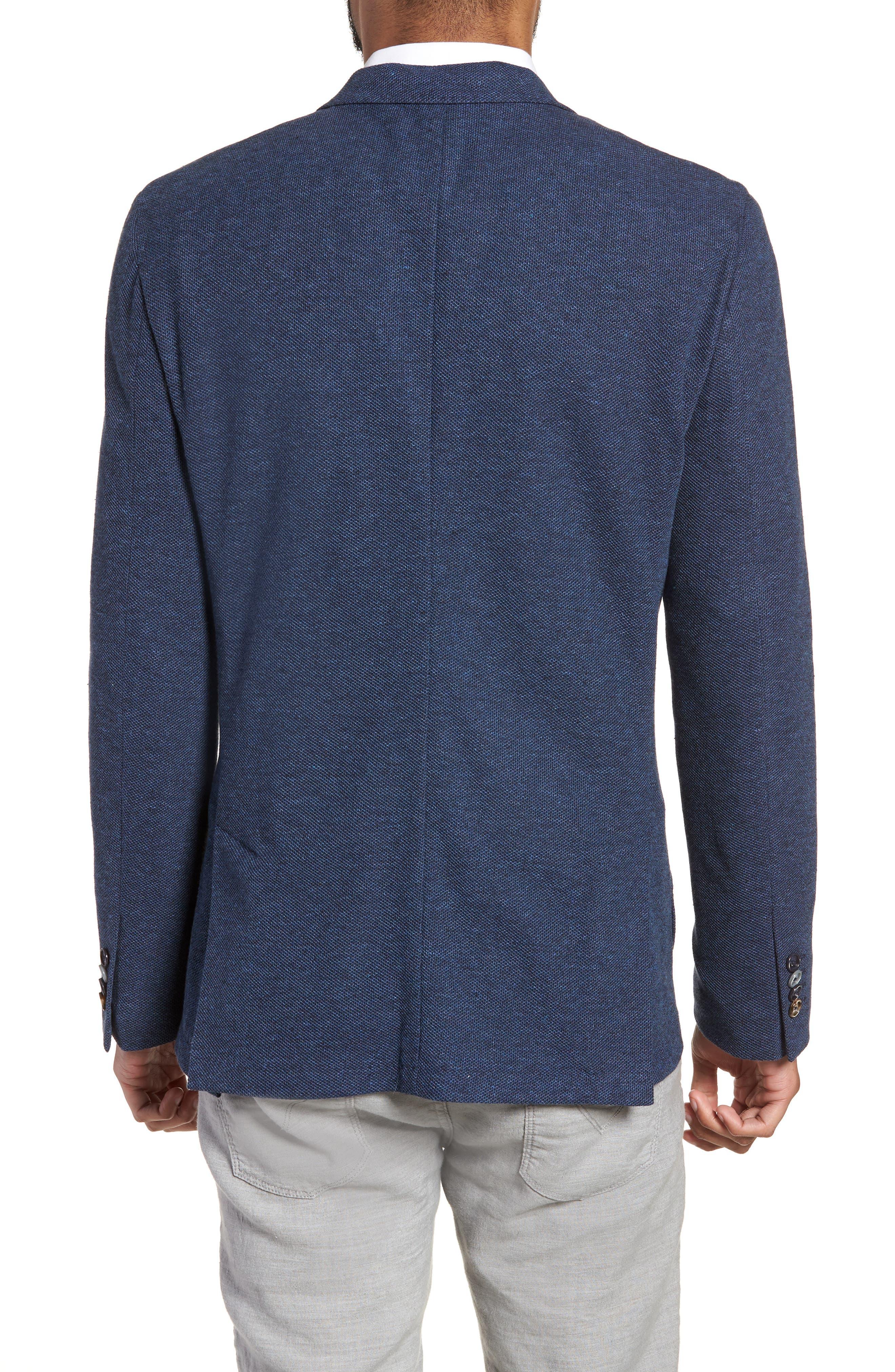 Trim Fit Cotton Blend Blazer,                             Alternate thumbnail 2, color,                             Mid Blue
