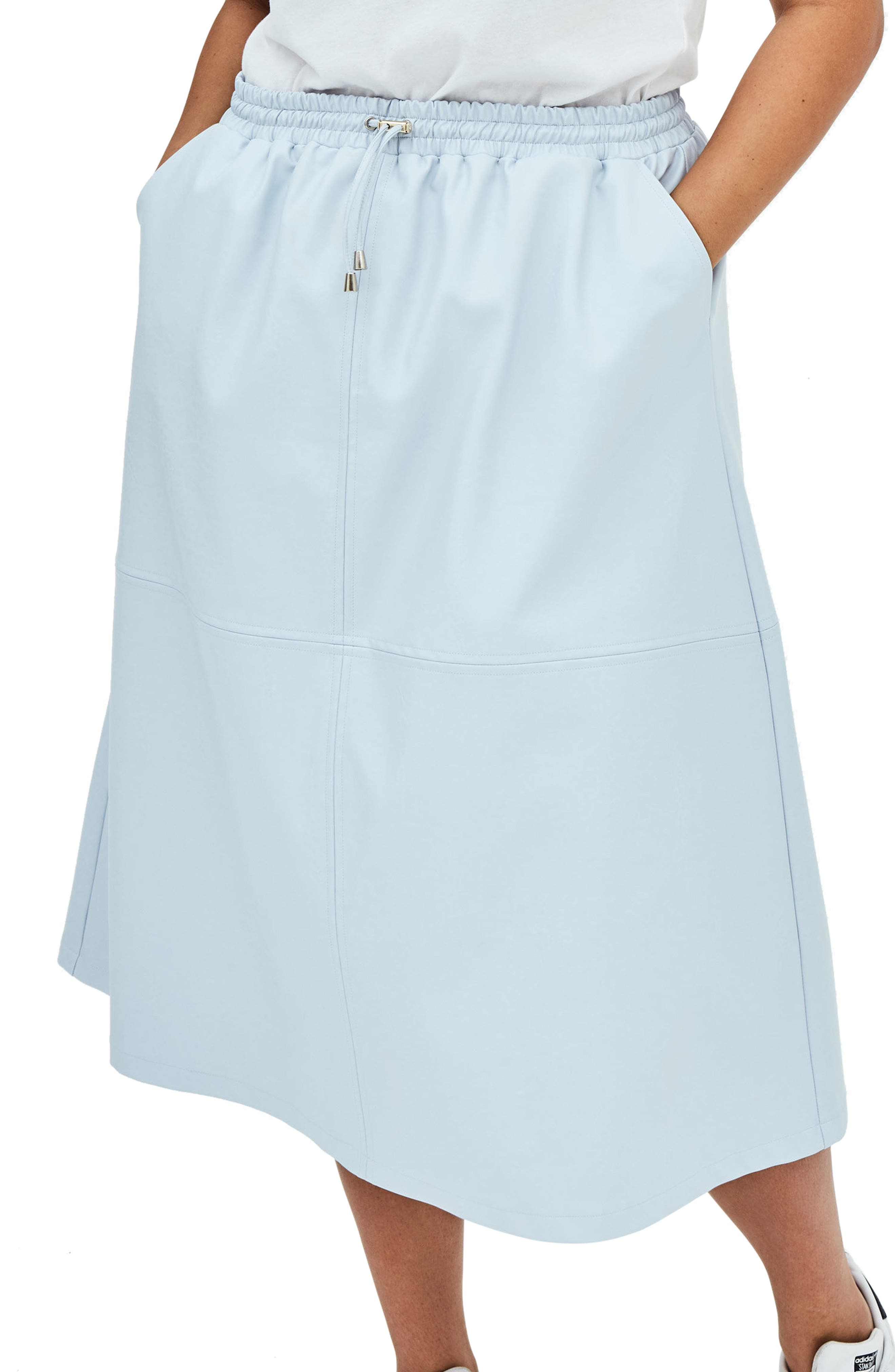 ELVI The Ulla Faux Leather Midi Skirt (Plus Size)