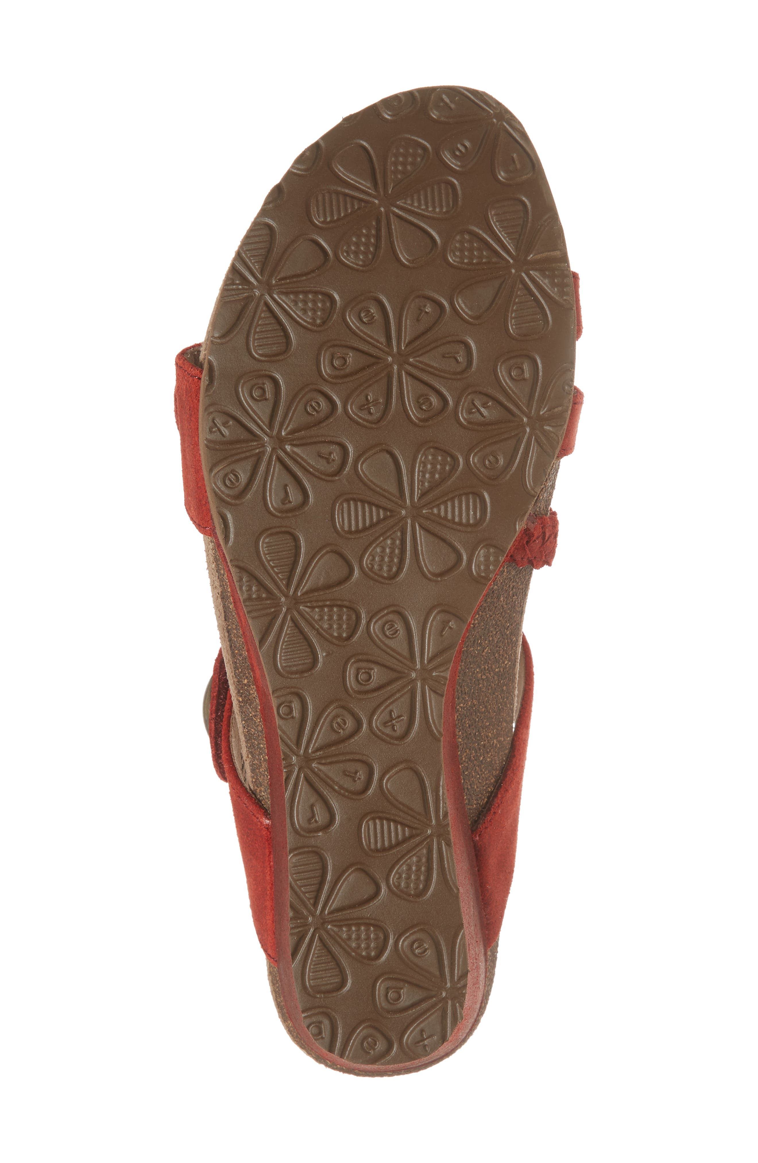 Lydia Strappy Wedge Sandal,                             Alternate thumbnail 6, color,                             Cayenne Leather