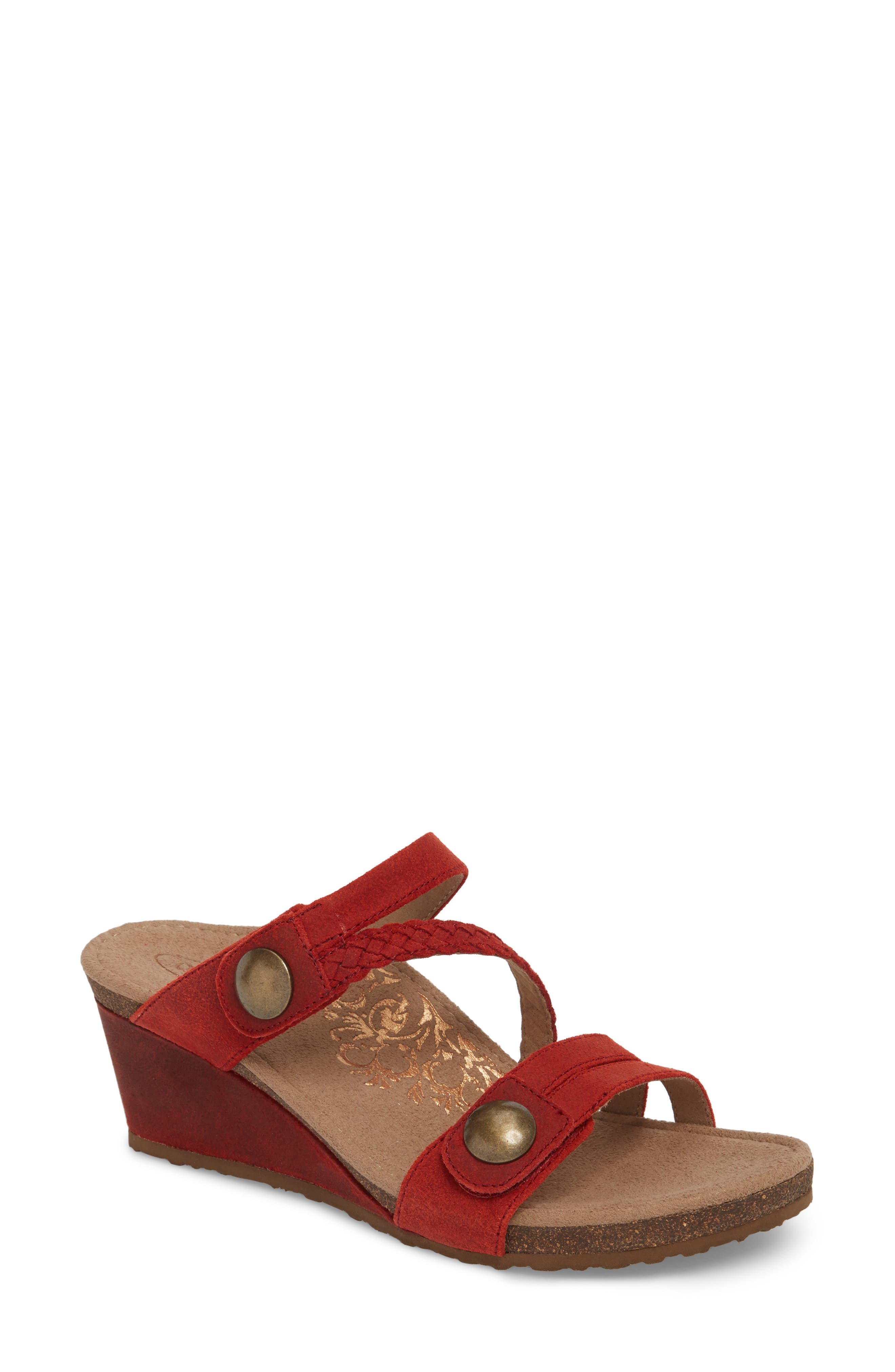 Lydia Strappy Wedge Sandal,                             Main thumbnail 1, color,                             Cayenne Leather