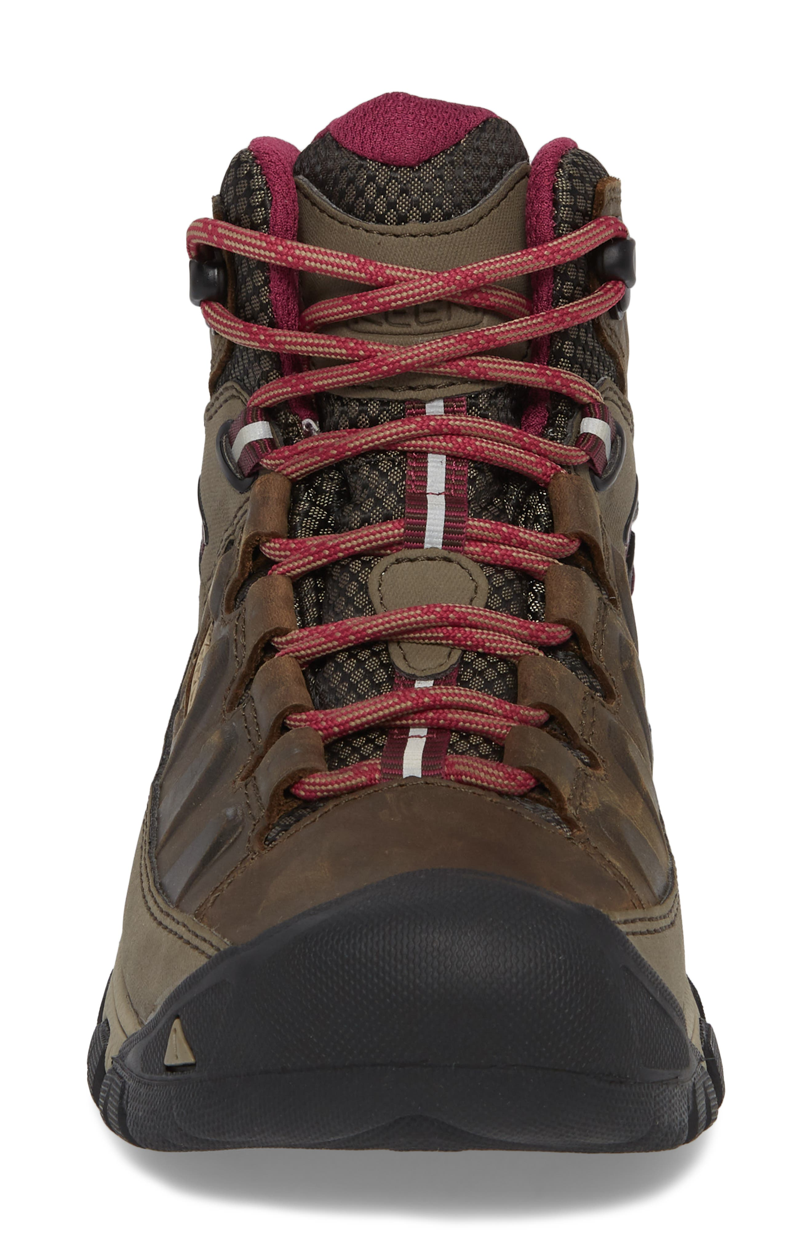 Targhee III Mid Waterproof Hiking Boot,                             Alternate thumbnail 4, color,                             Weiss/ Boysenberry Leather