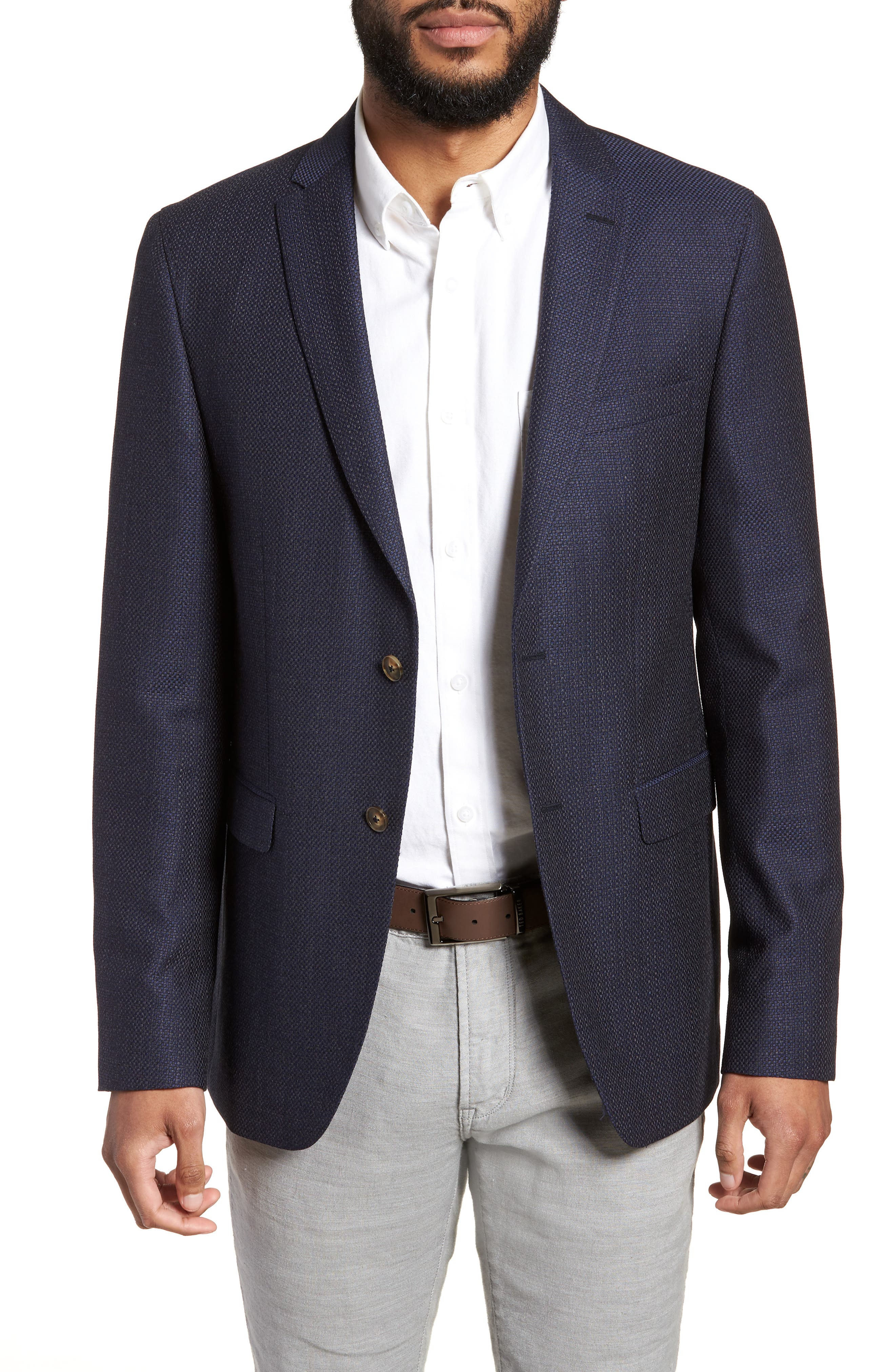 Alternate Image 1 Selected - Sand Trim Fit Wool Blazer