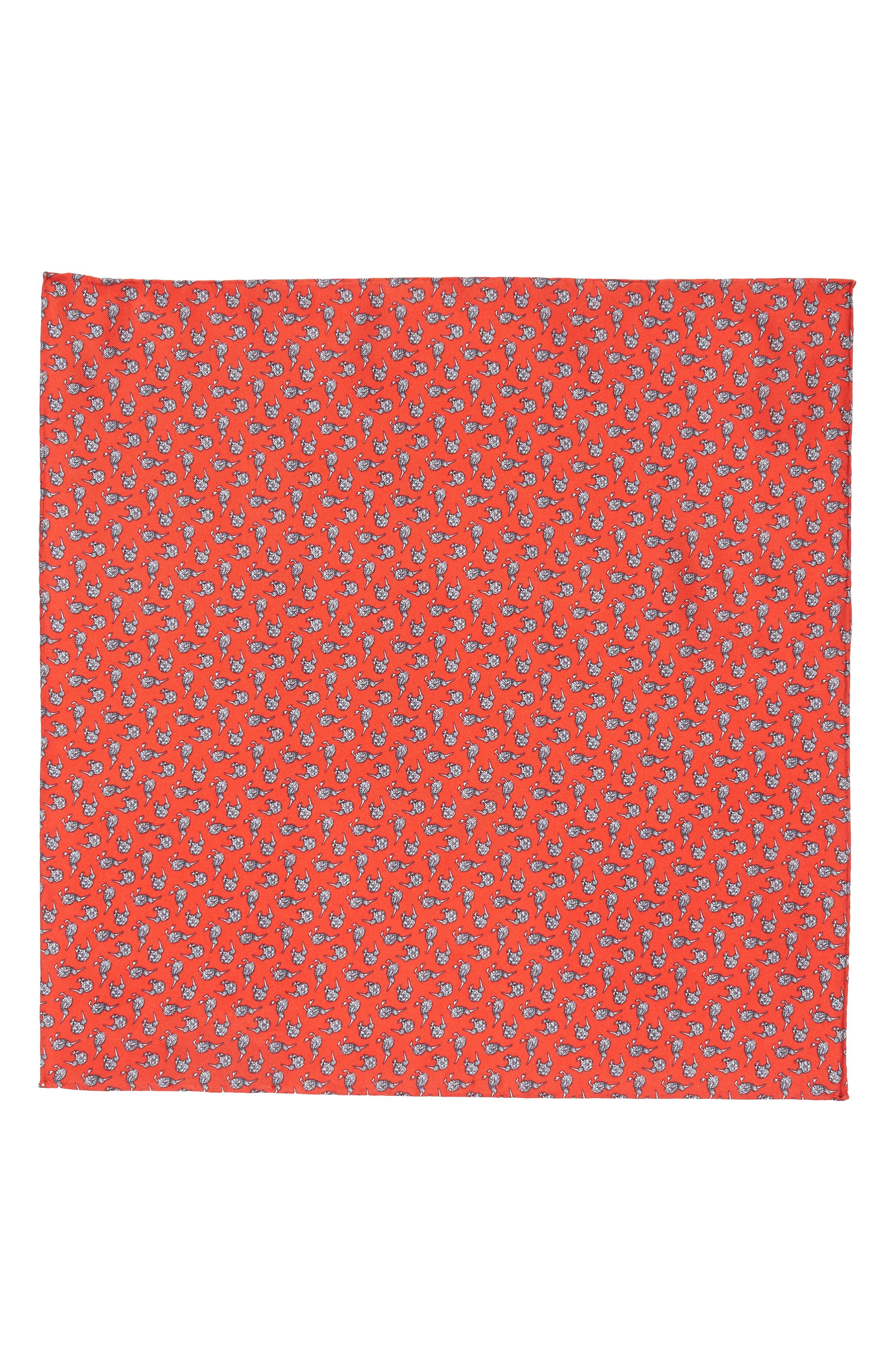 Cheeky Kiwi Silk Pocket Square,                             Alternate thumbnail 2, color,                             Red