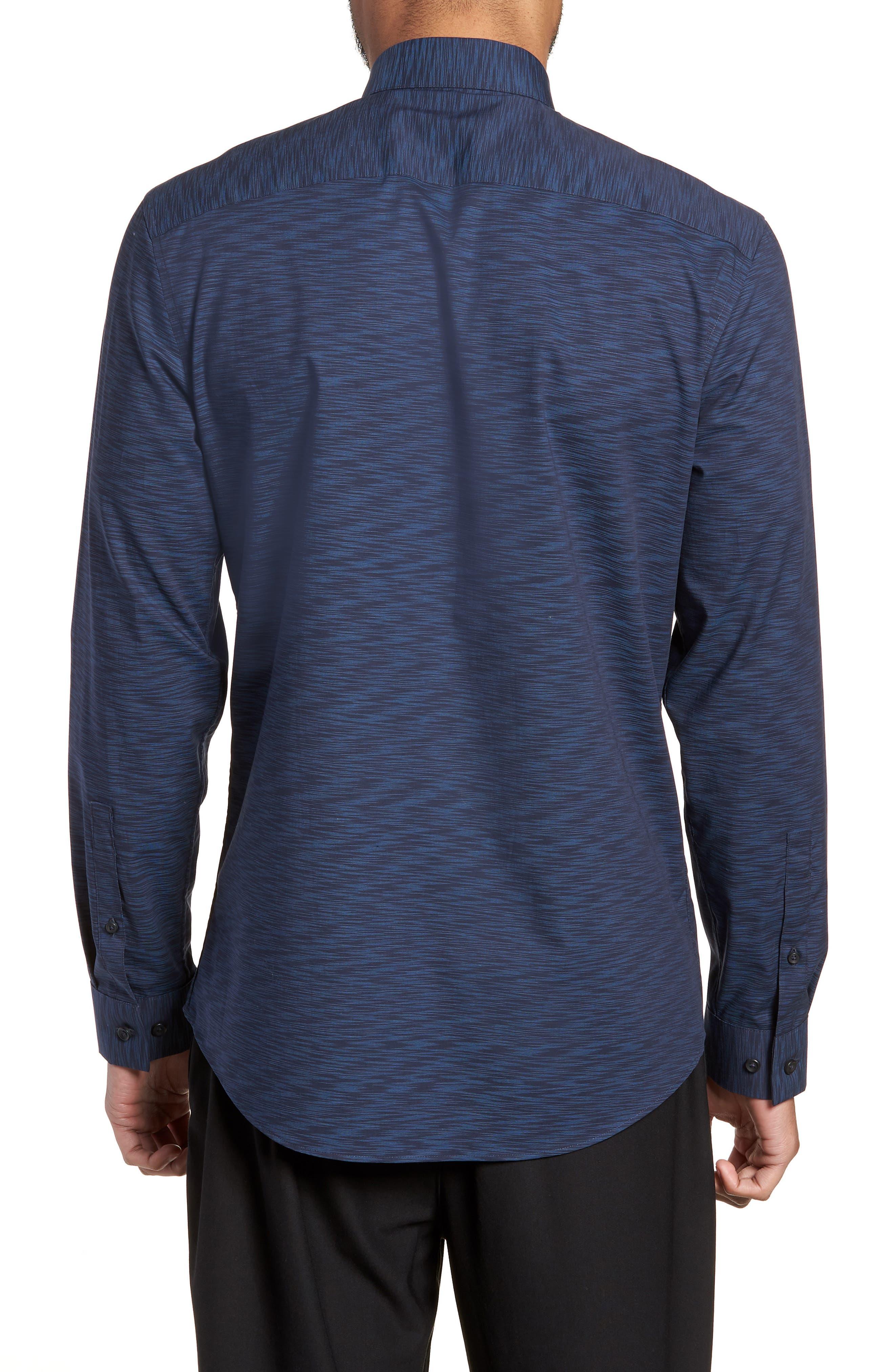 Trim Fit Solid Sport Shirt,                             Alternate thumbnail 2, color,                             Navy Blue Space Dye