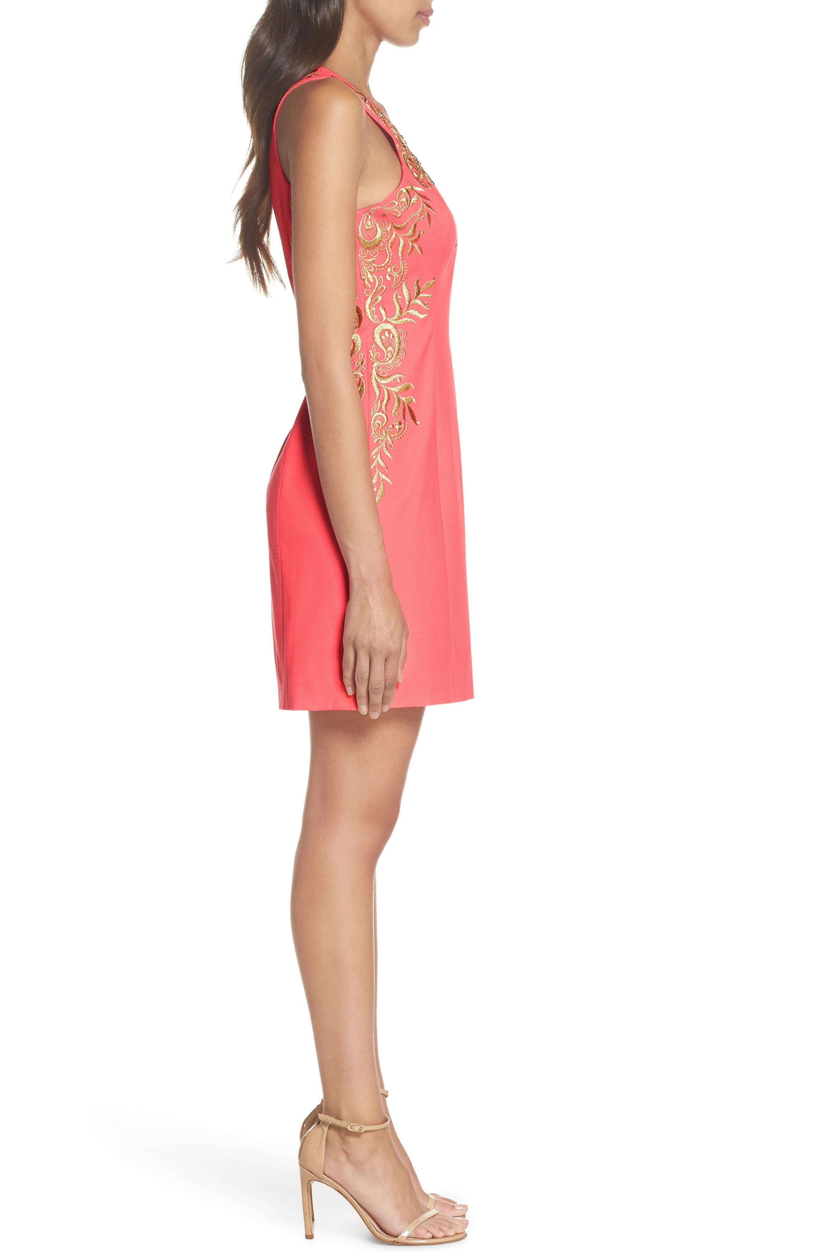 Tina Embroidered Sheath Dress,                             Alternate thumbnail 3, color,                             Coral Suns