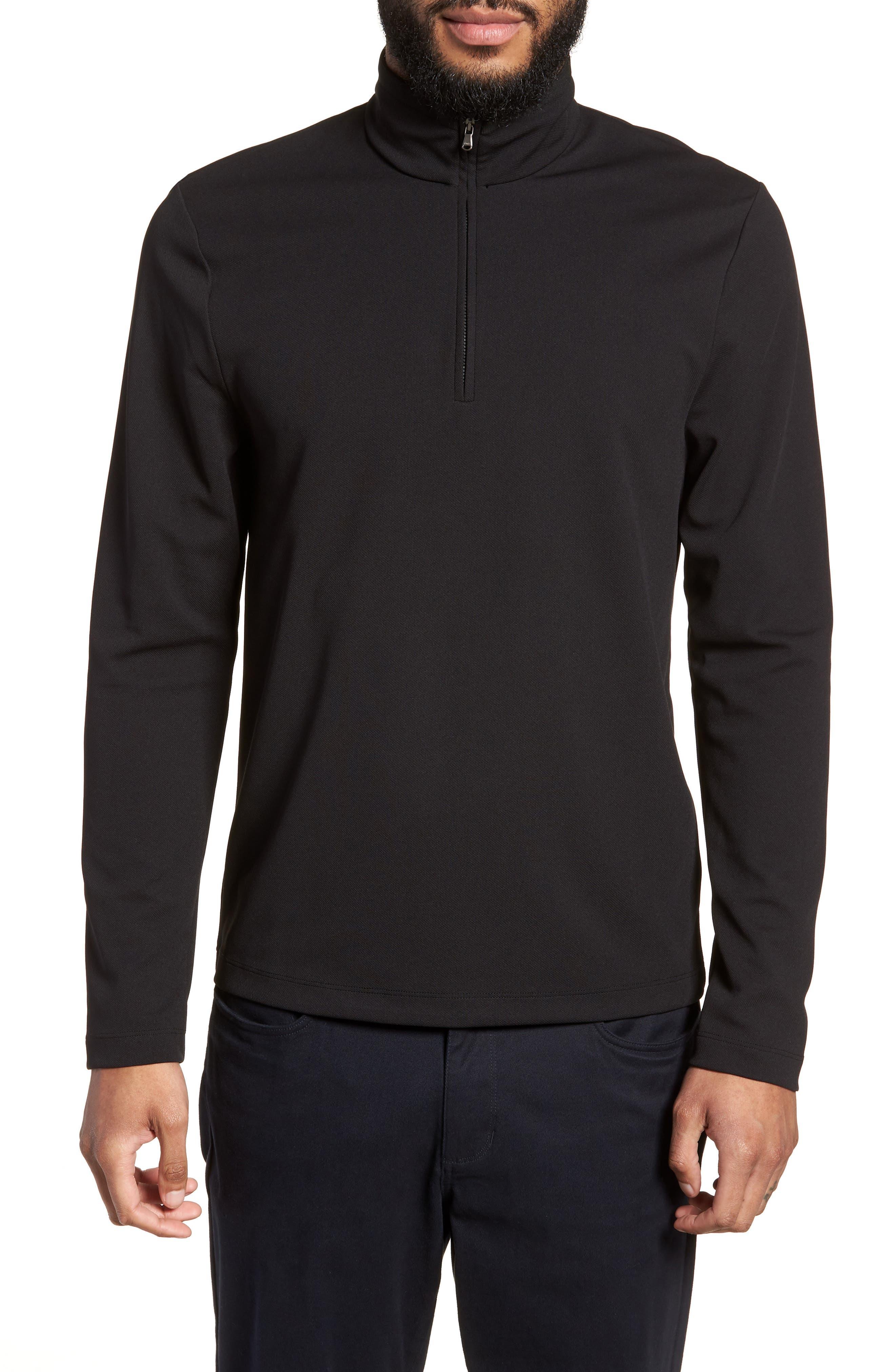 Performance Quarter Zip Pullover,                             Main thumbnail 1, color,                             Black/ Black