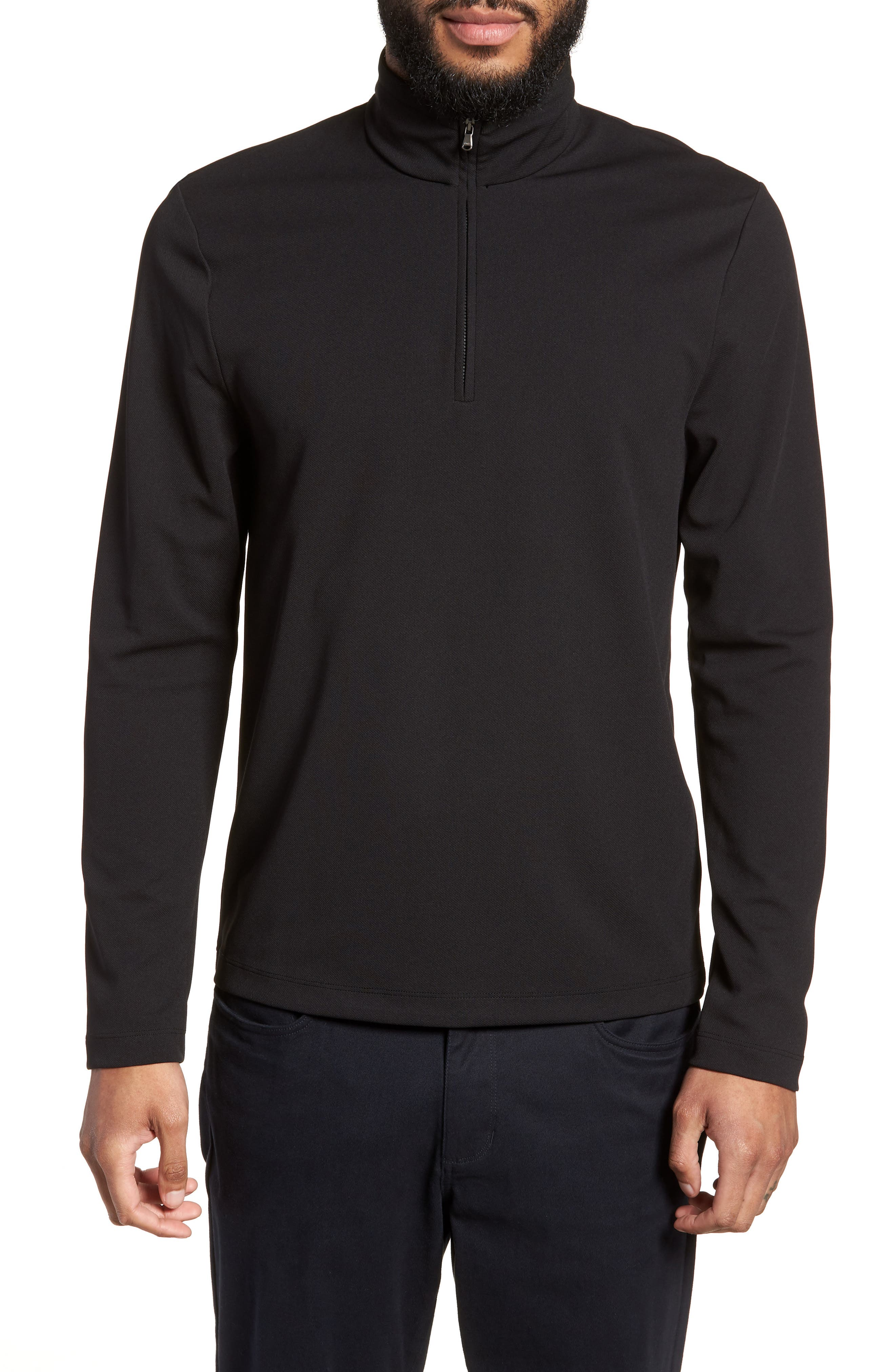 Performance Quarter Zip Pullover,                         Main,                         color, Black/ Black