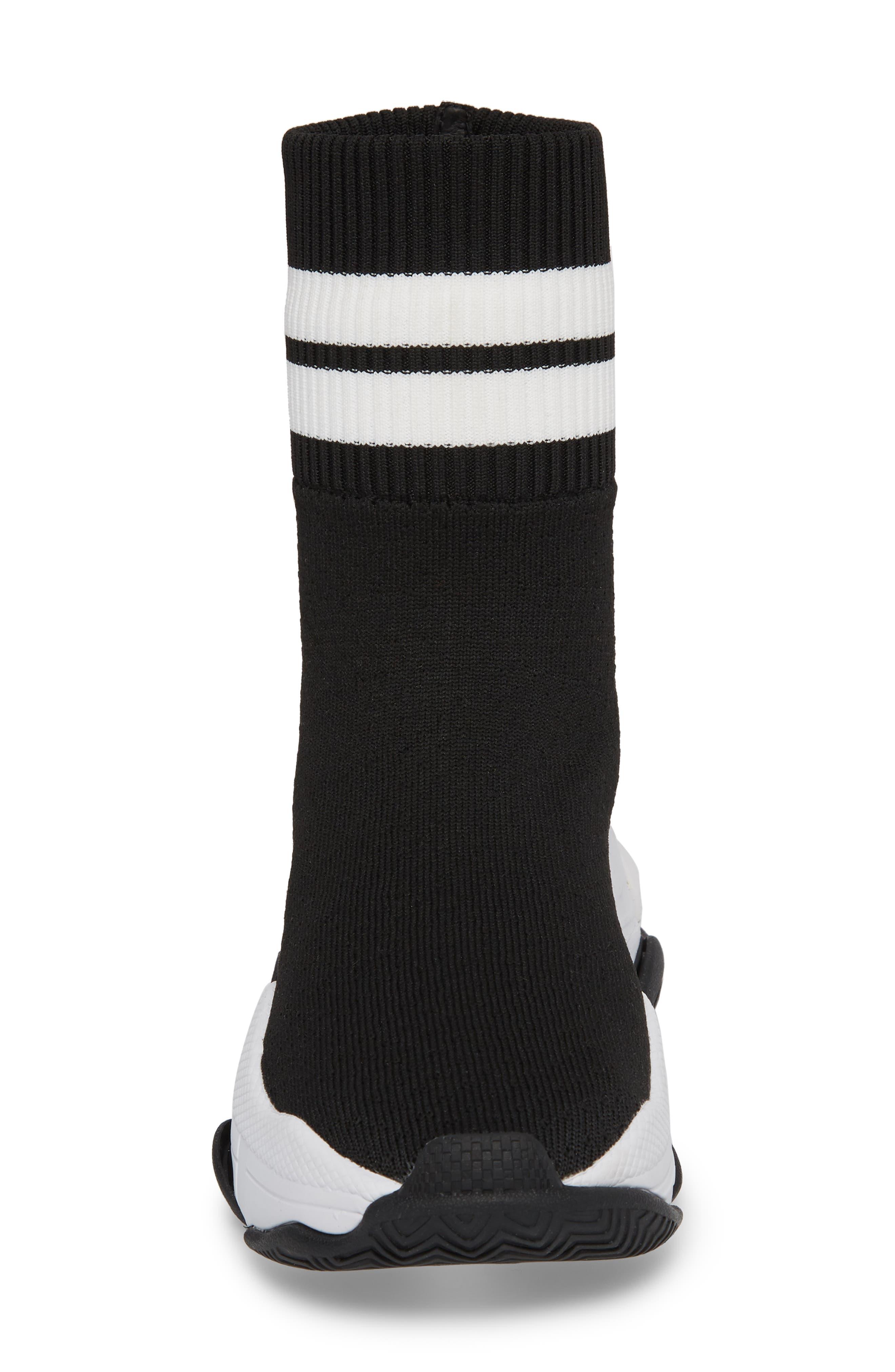 Tenko Ankle High Top Sock Sneaker,                             Alternate thumbnail 4, color,                             Black/ White Stripe Fabric