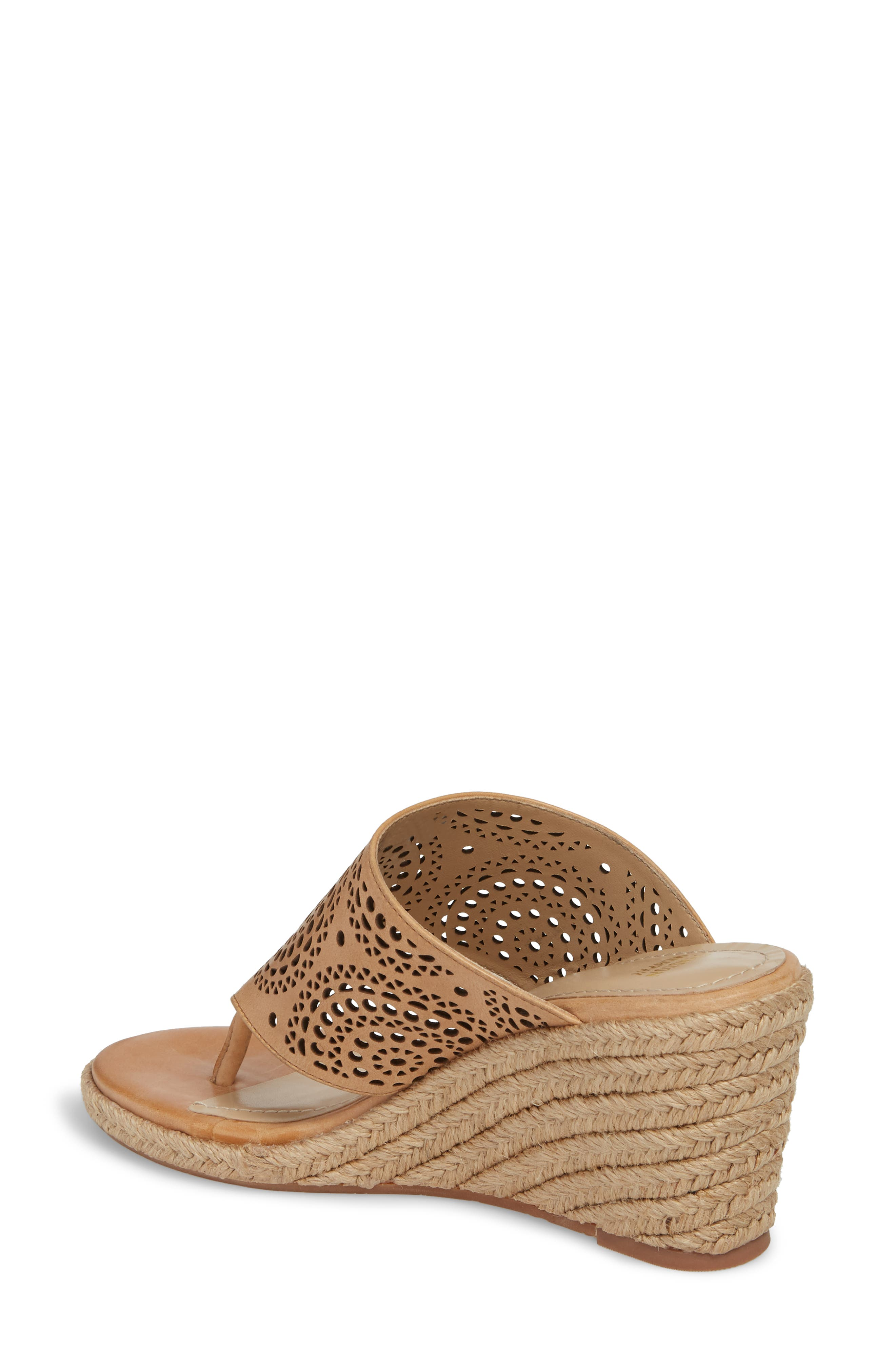 Gina Wedge Sandal,                             Alternate thumbnail 2, color,                             Tan Leather