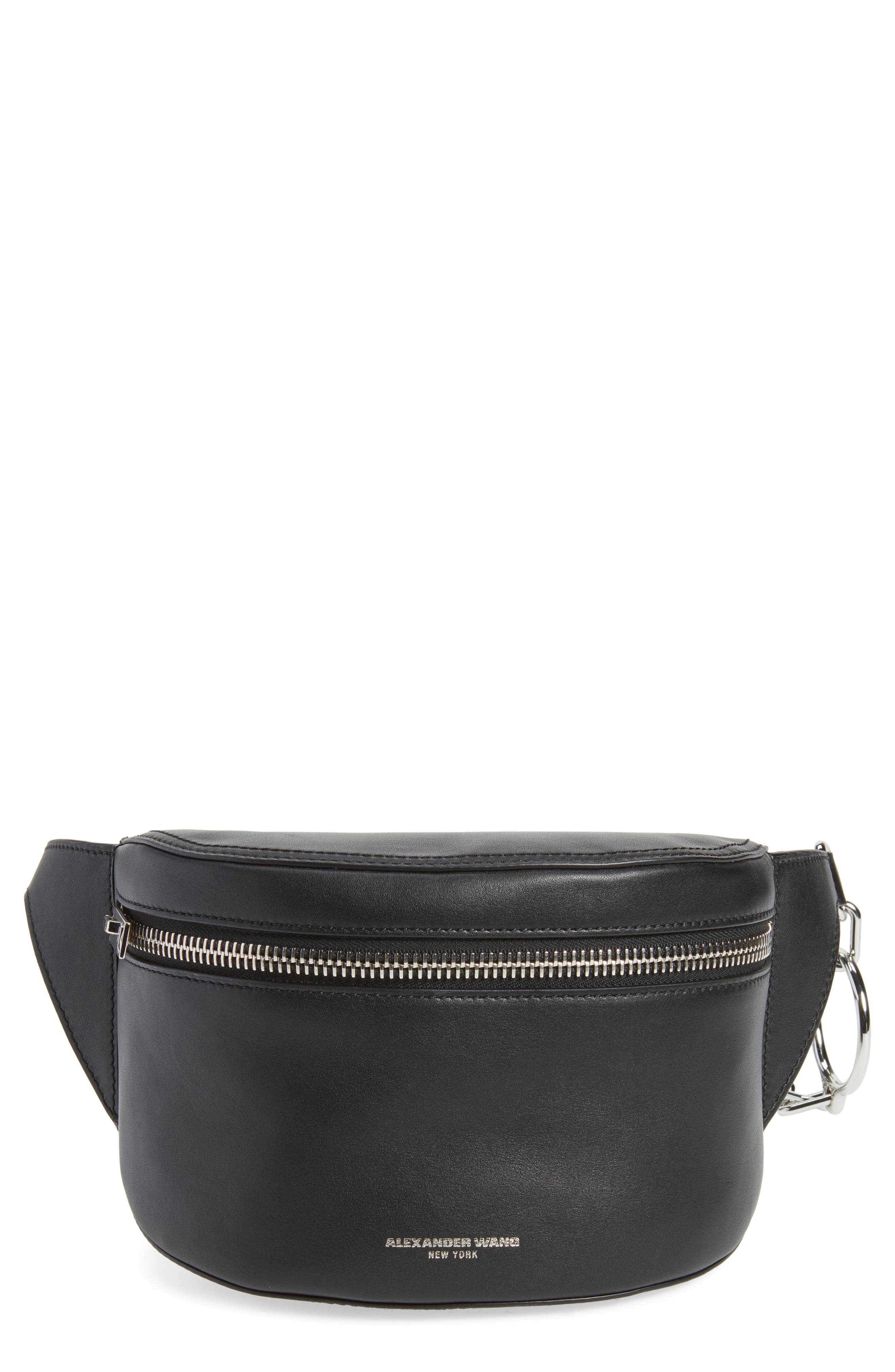 Leather Fanny Pack,                             Main thumbnail 1, color,                             Black