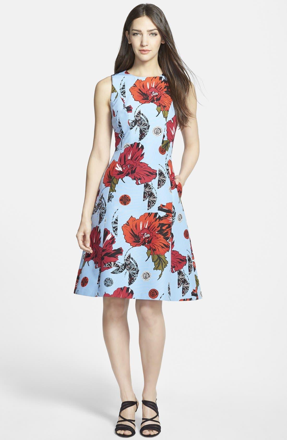 Main Image - Classiques Entier® Fit & Flare Cotton & Silk Dress