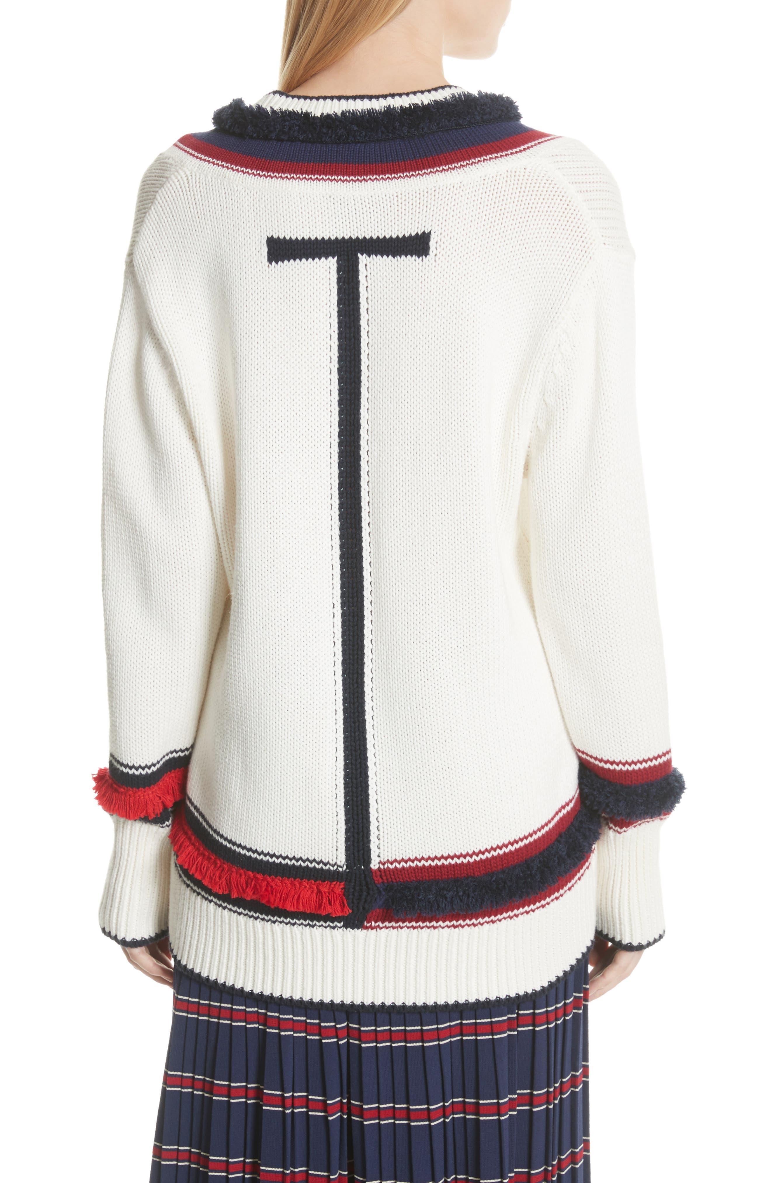 V-Neck Cotton & Cashmere Sweater,                             Alternate thumbnail 2, color,                             Ecru