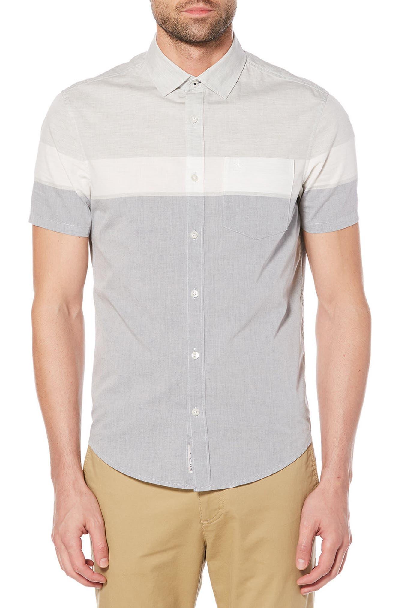 Engineered Stripe Woven Shirt,                         Main,                         color, Dark Sapphire