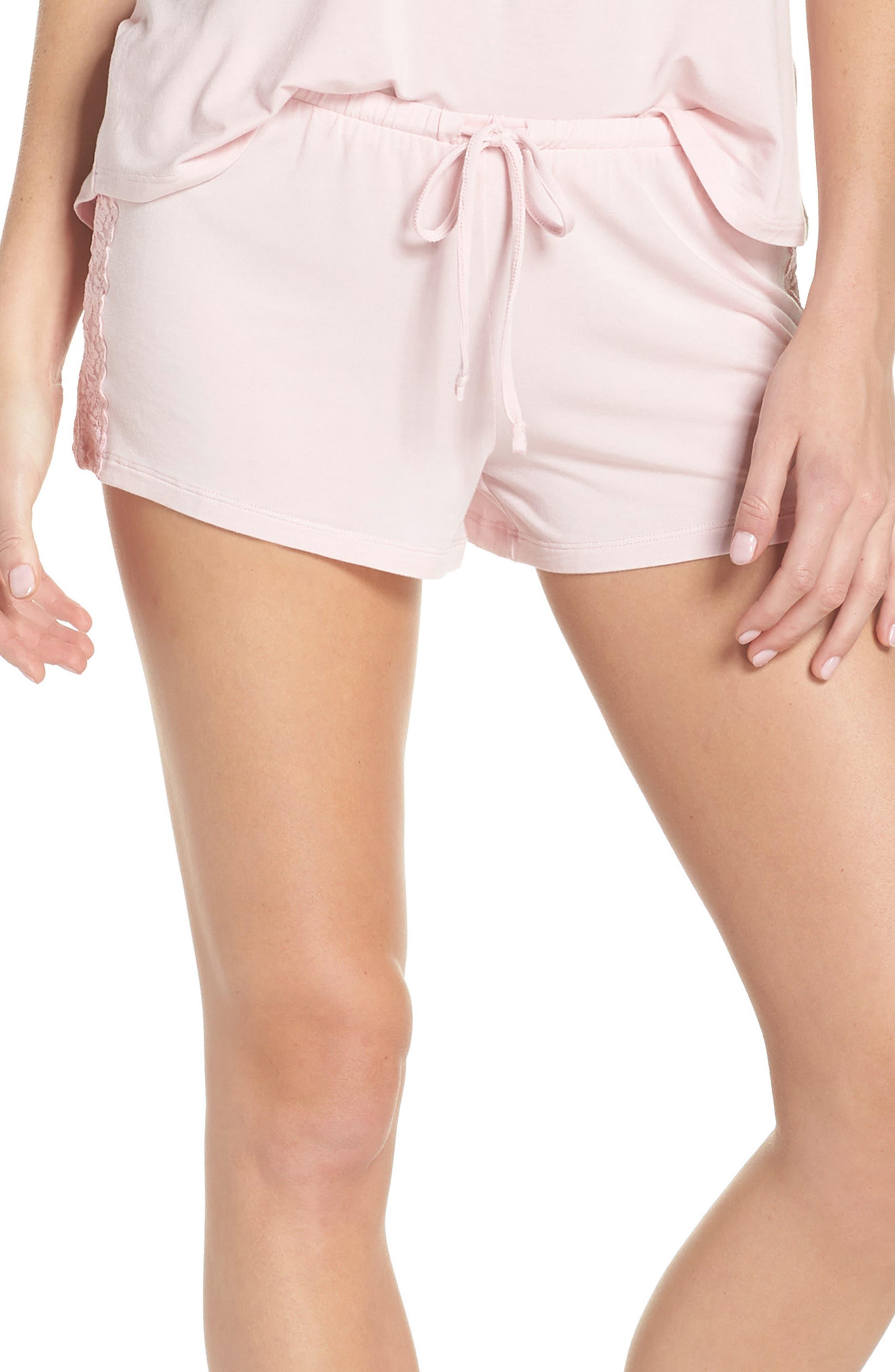 Pajama Shorts,                         Main,                         color, Pink