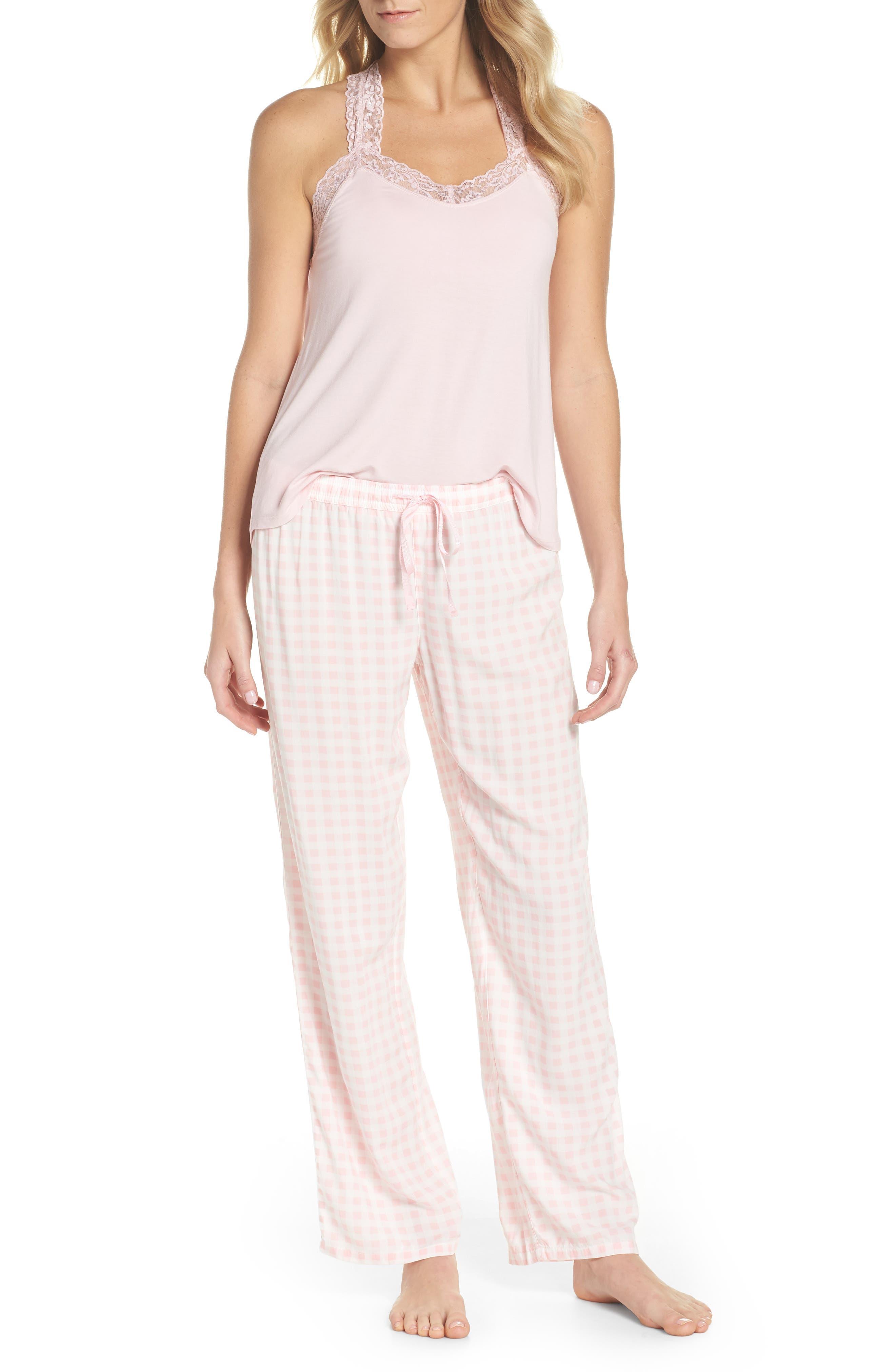 Gingham Pajama Pants,                             Alternate thumbnail 5, color,                             Pink