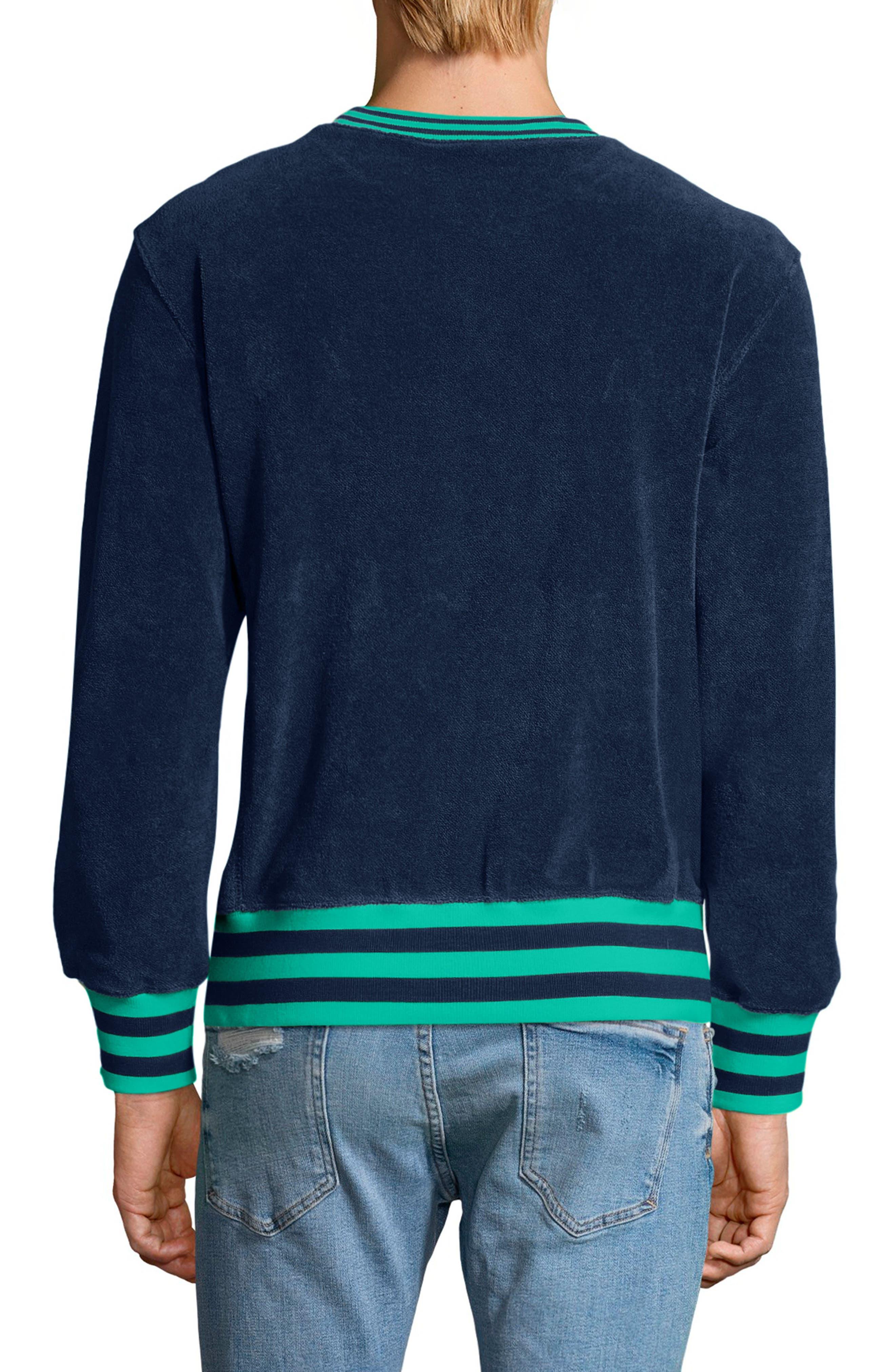 Sponge Terry Crewneck Sweatshirt,                             Alternate thumbnail 2, color,                             Navy