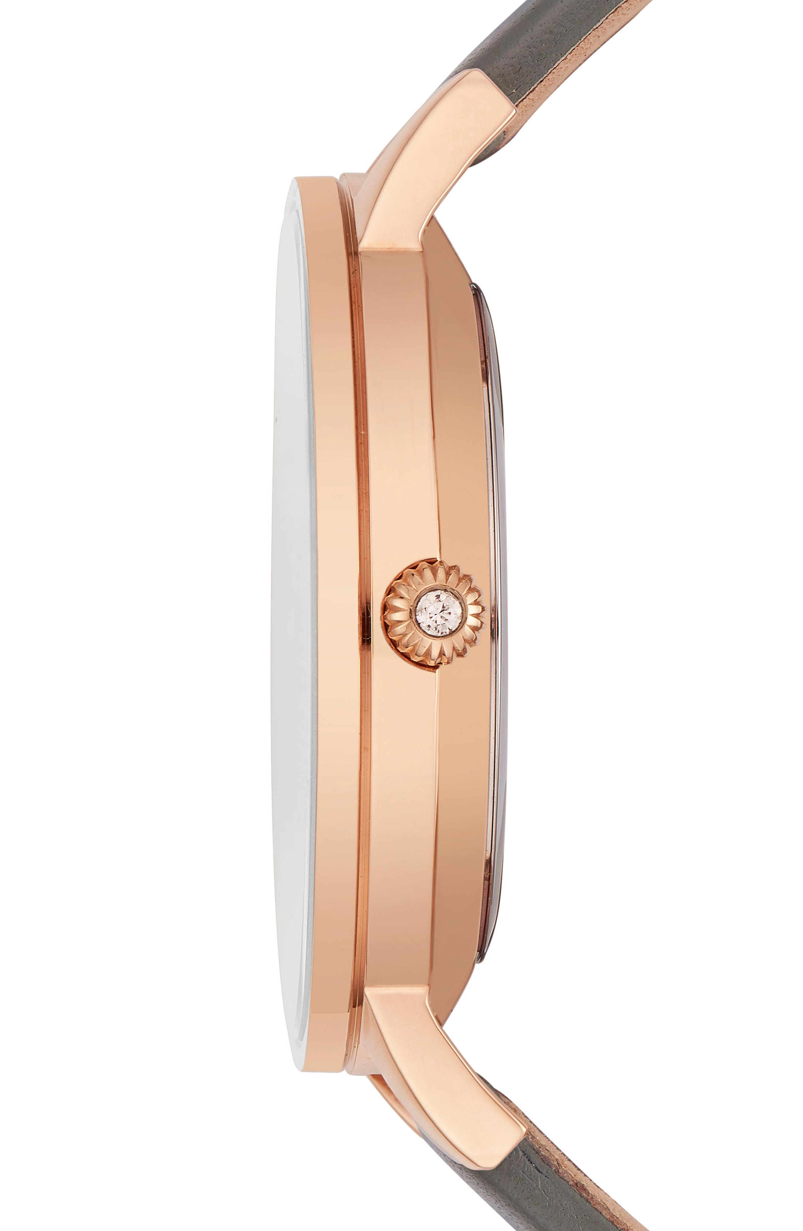 Kate Leather Strap Watch, 40mm,                             Alternate thumbnail 3, color,                             Grey/ Mop/ Rose Gold