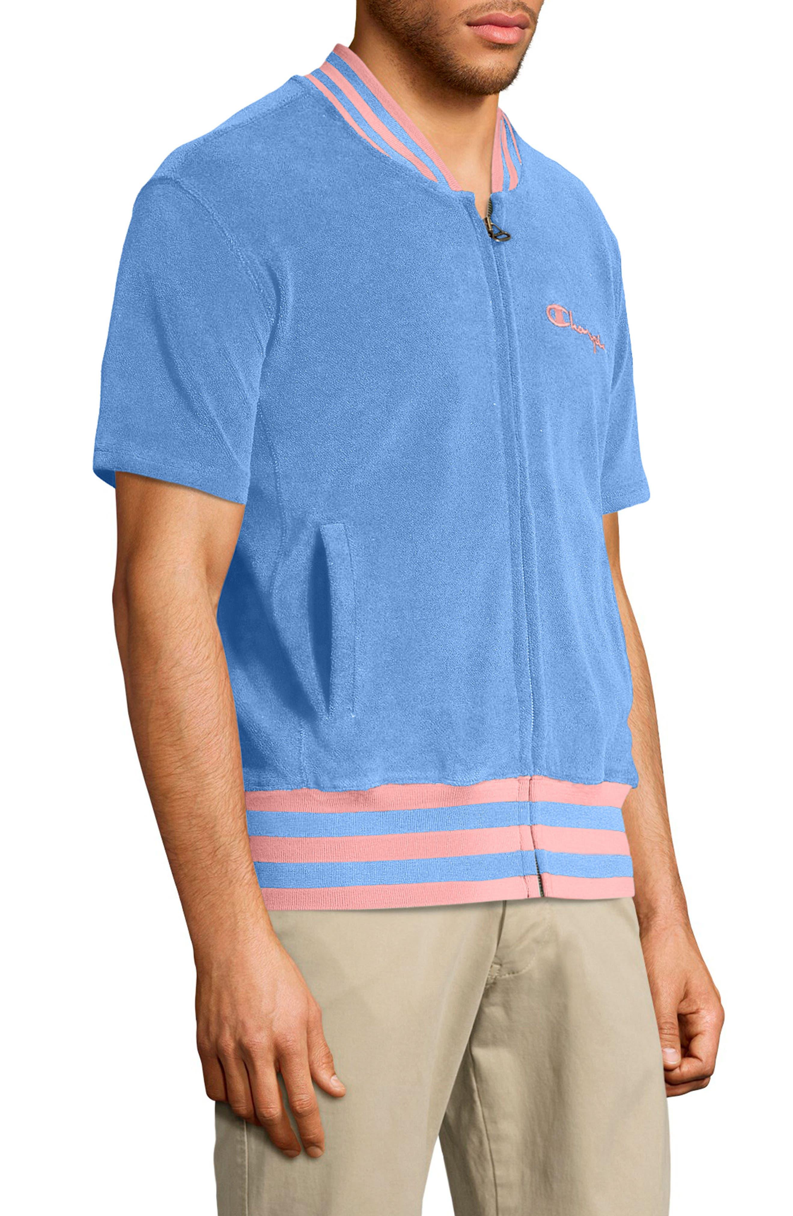 Sponge Terry Stripe Full Zip Sweatshirt,                             Alternate thumbnail 3, color,                             Swiss Blue