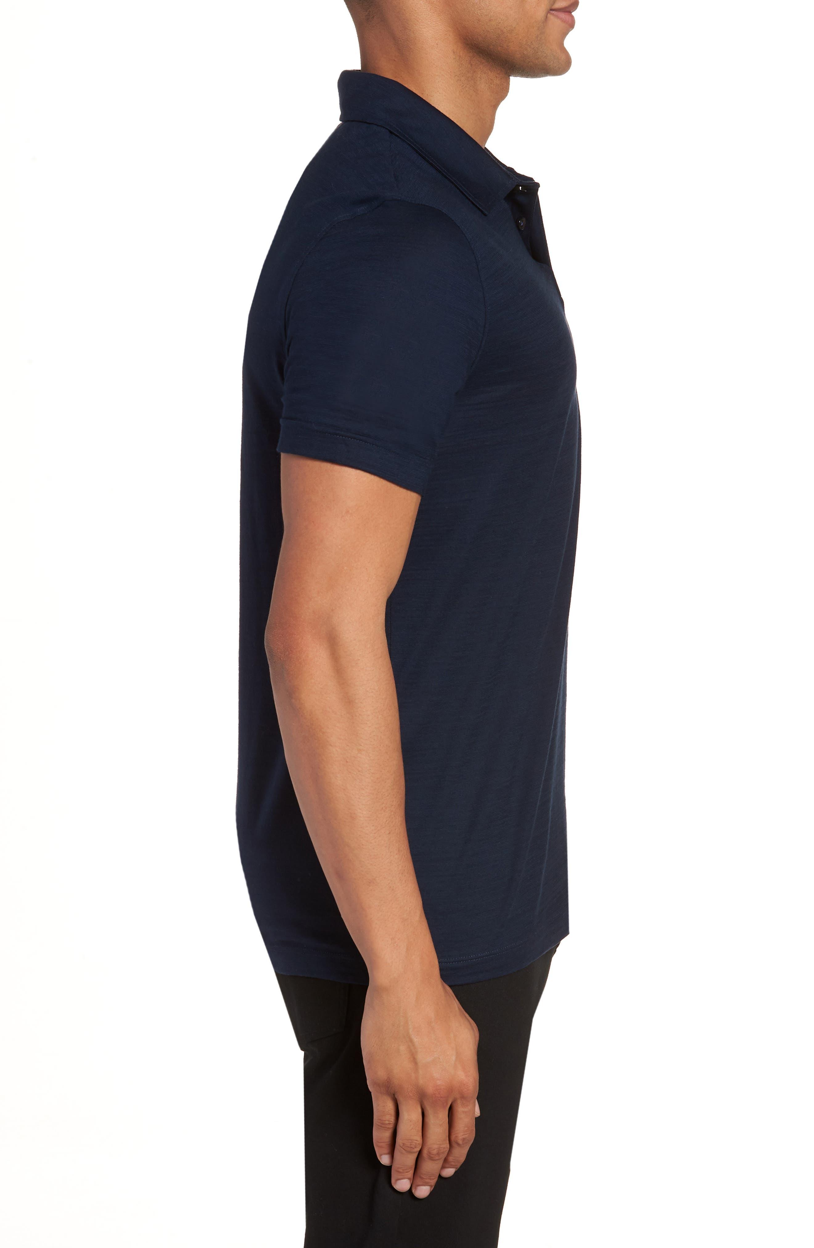 Press Flame Slim Fit Polo Shirt,                             Alternate thumbnail 3, color,                             Blue