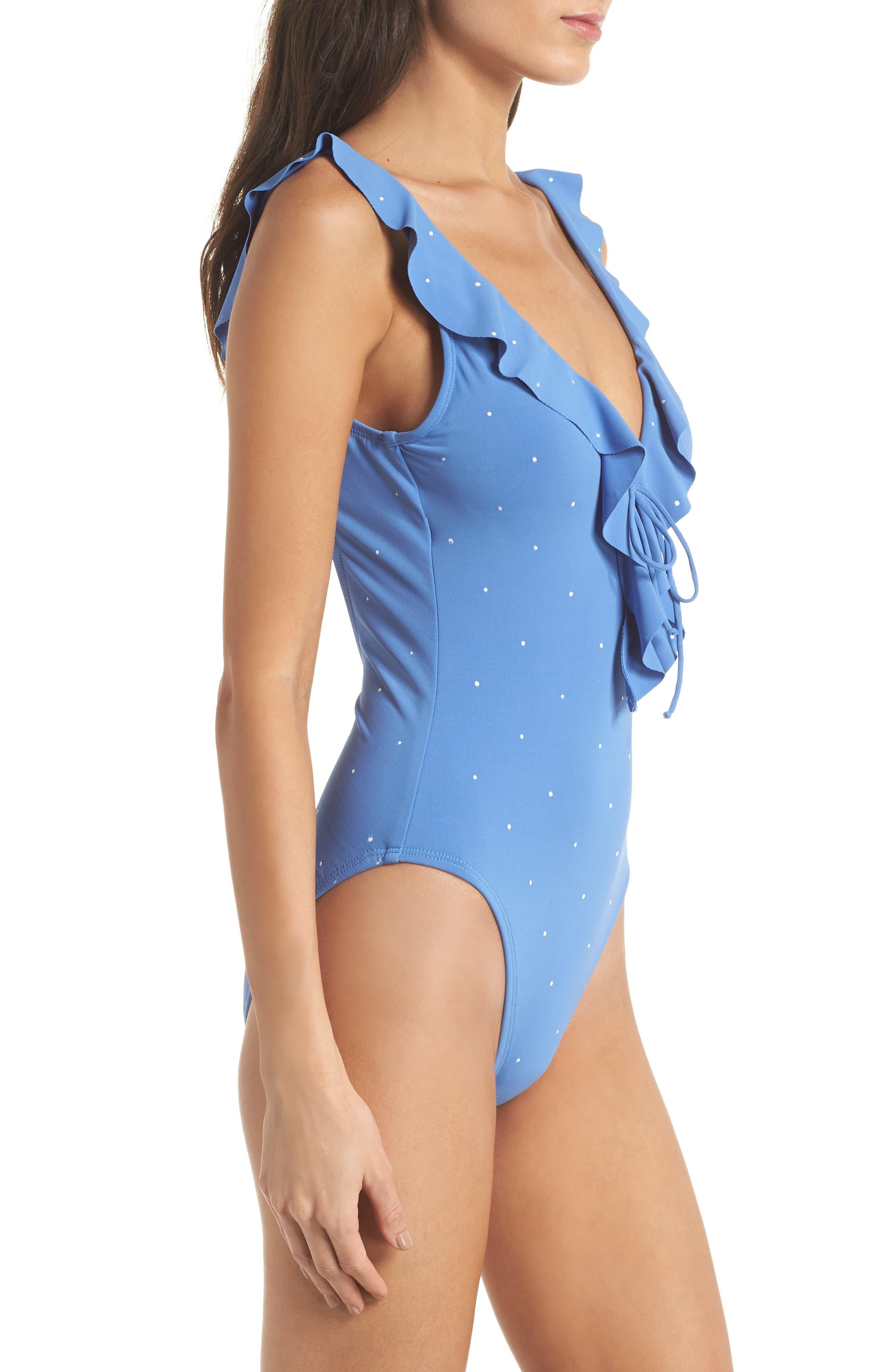 Jennie Plunge One-Piece Swimsuit,                             Alternate thumbnail 3, color,                             Periwinkle